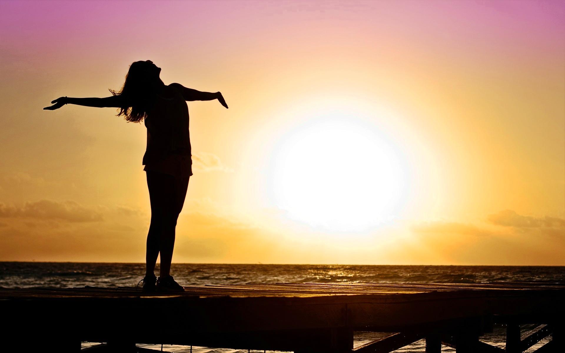 Sunset joy photo