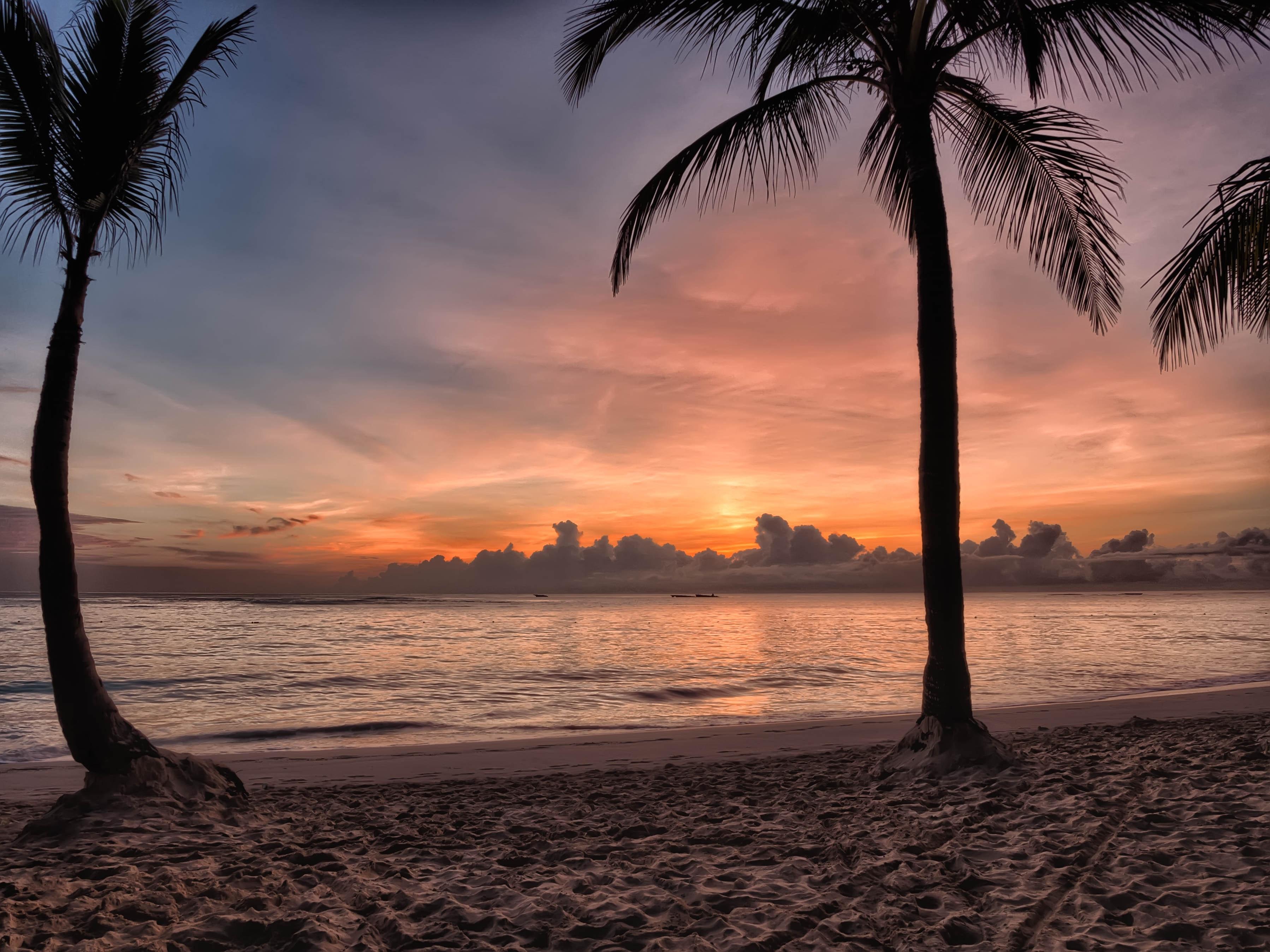 Sunset on sea shore photo