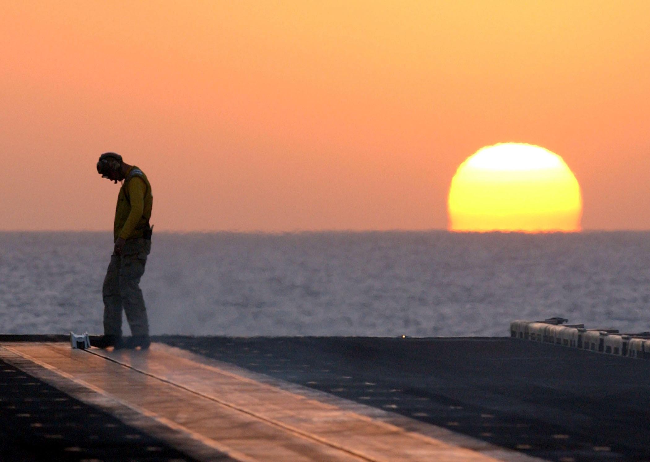 Sunset on the ship photo