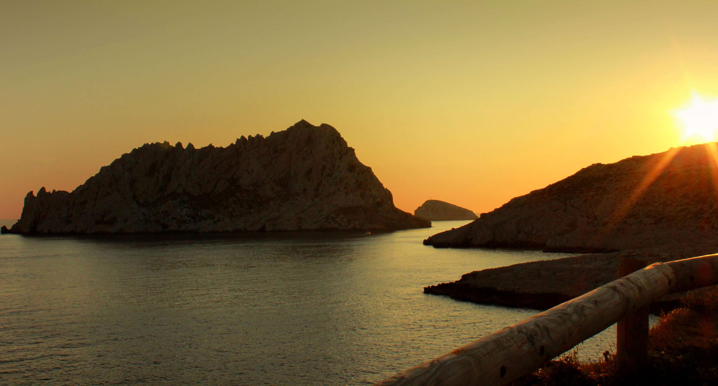 Sunset over les calanques near les goude photo