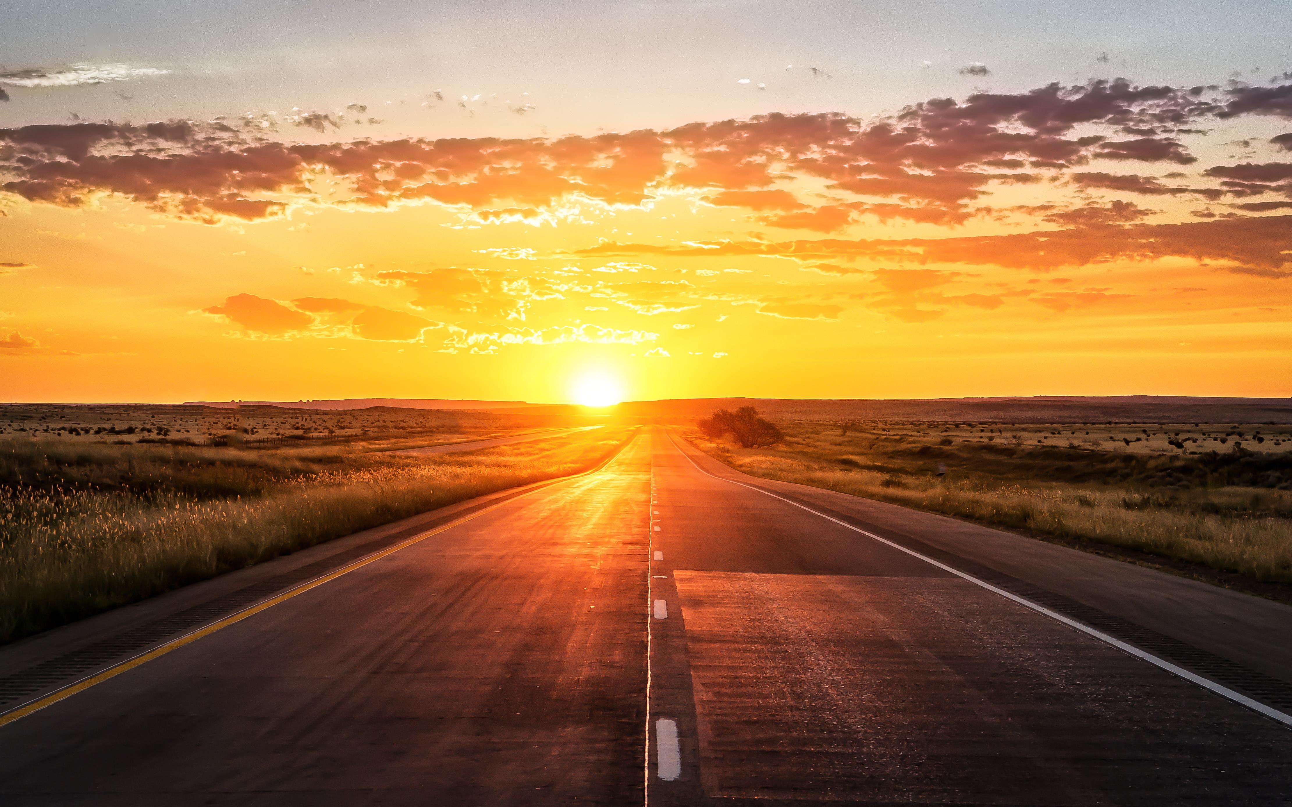 Wallpaper Sunset, Highway, 4K, World, #5557