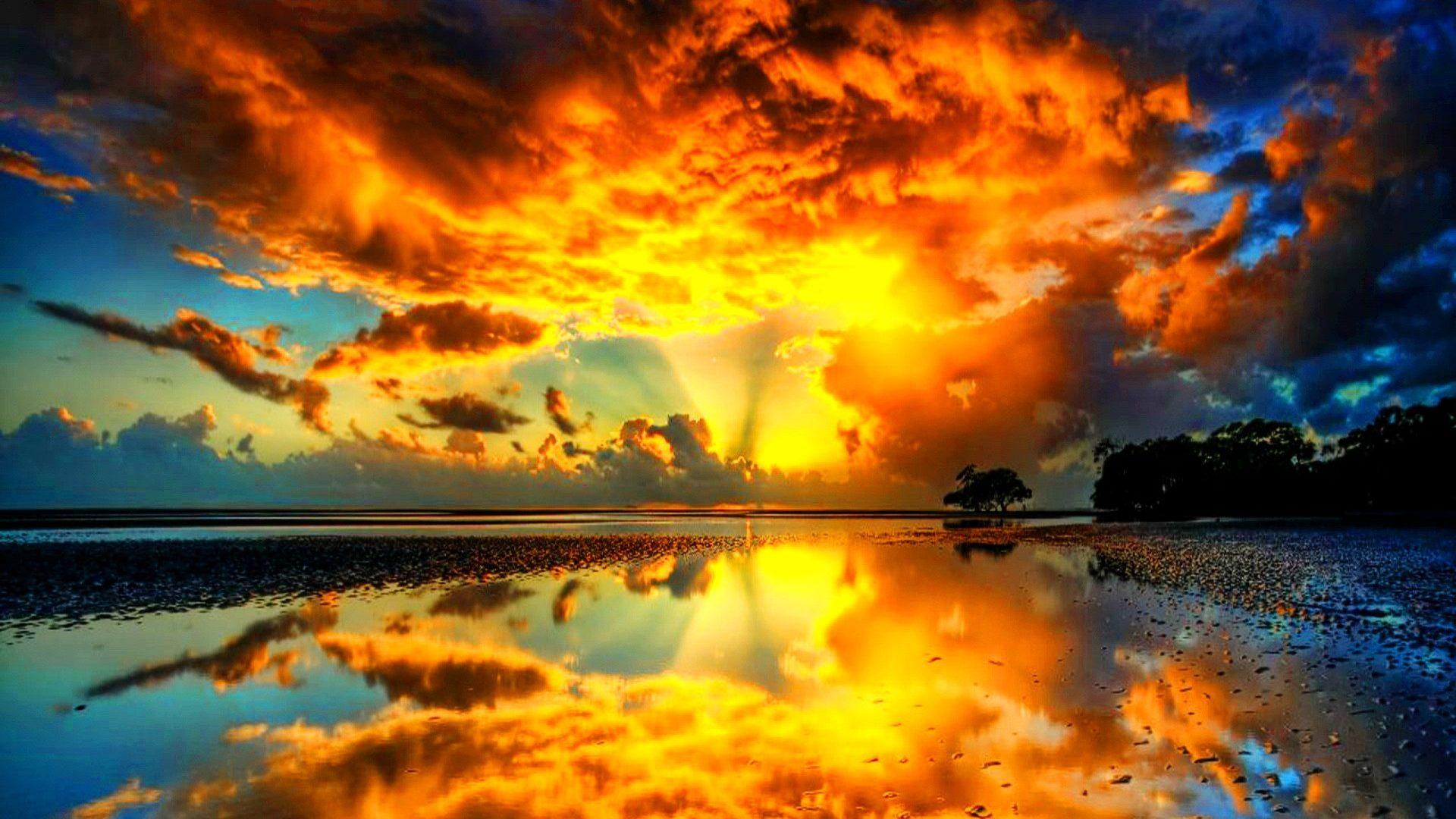 Sunset: Let Light Colorful Evening Lights Nature Mirror Night Sea ...