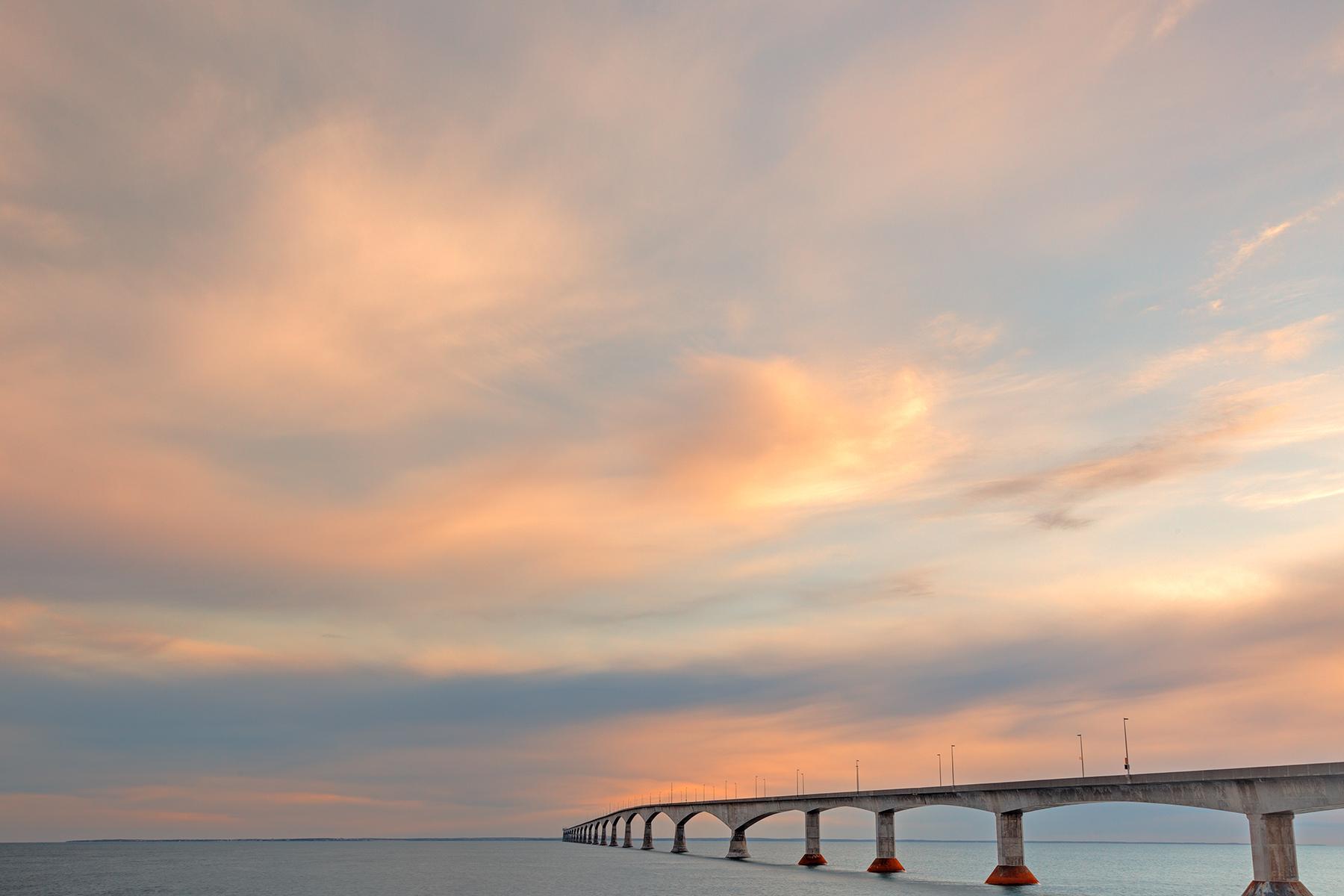 Sunset sky bridge - hdr photo