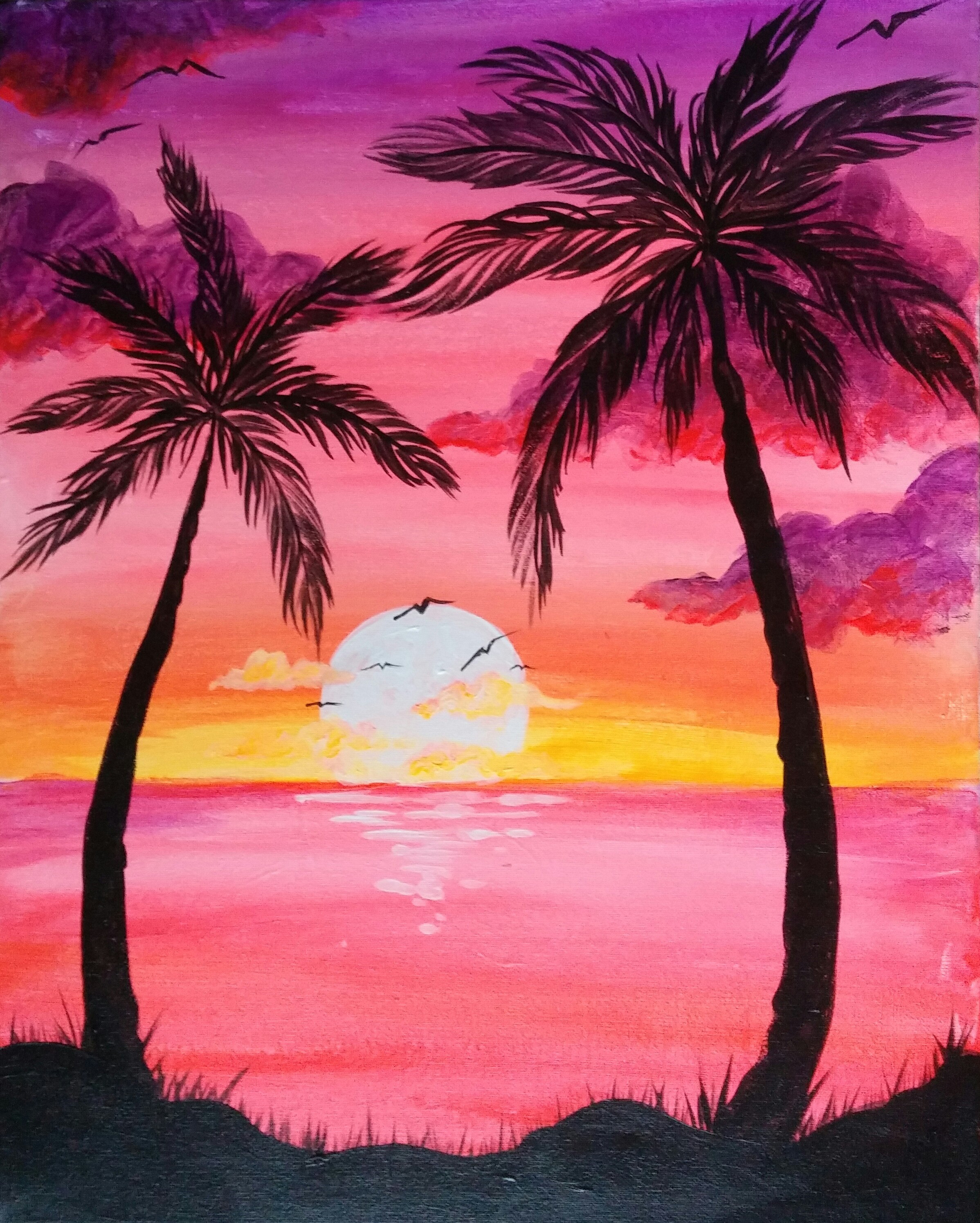 Sunset Palms - Pinot's Palette Painting