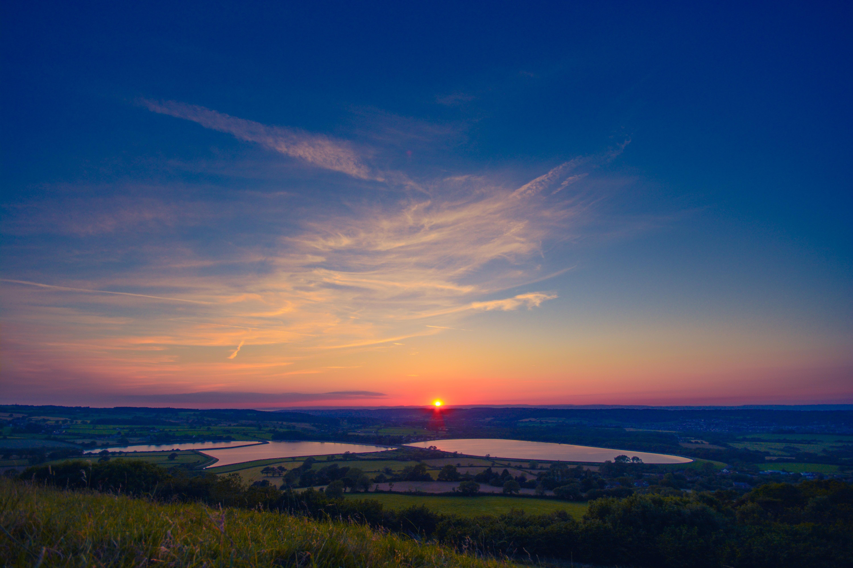 Sunset Under Blue Sky, Fields, Lake, Landscape, Nature, HQ Photo