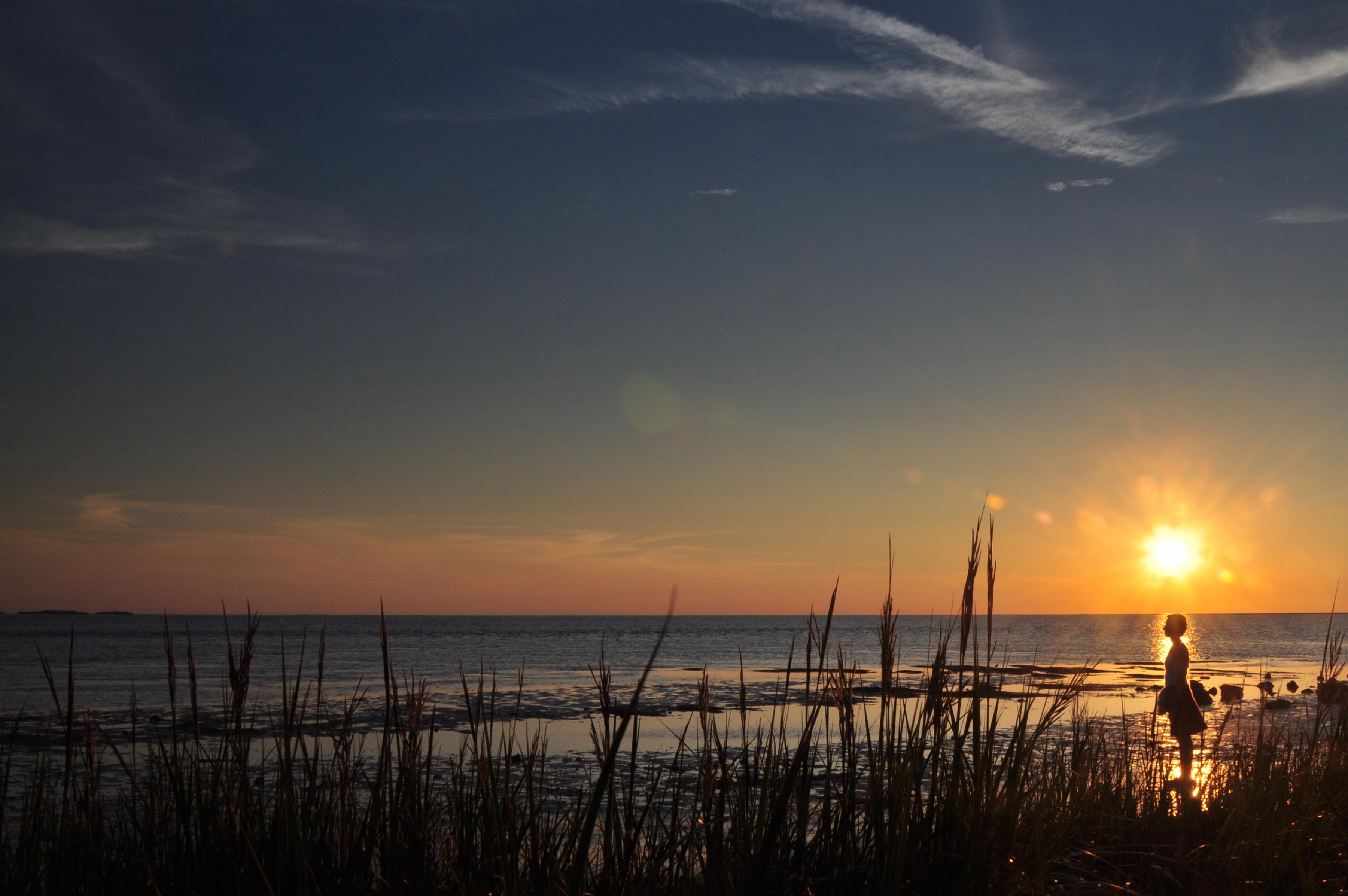 Sunset with girl wearing skirt, Girl, Ocean, Sunset, HQ Photo