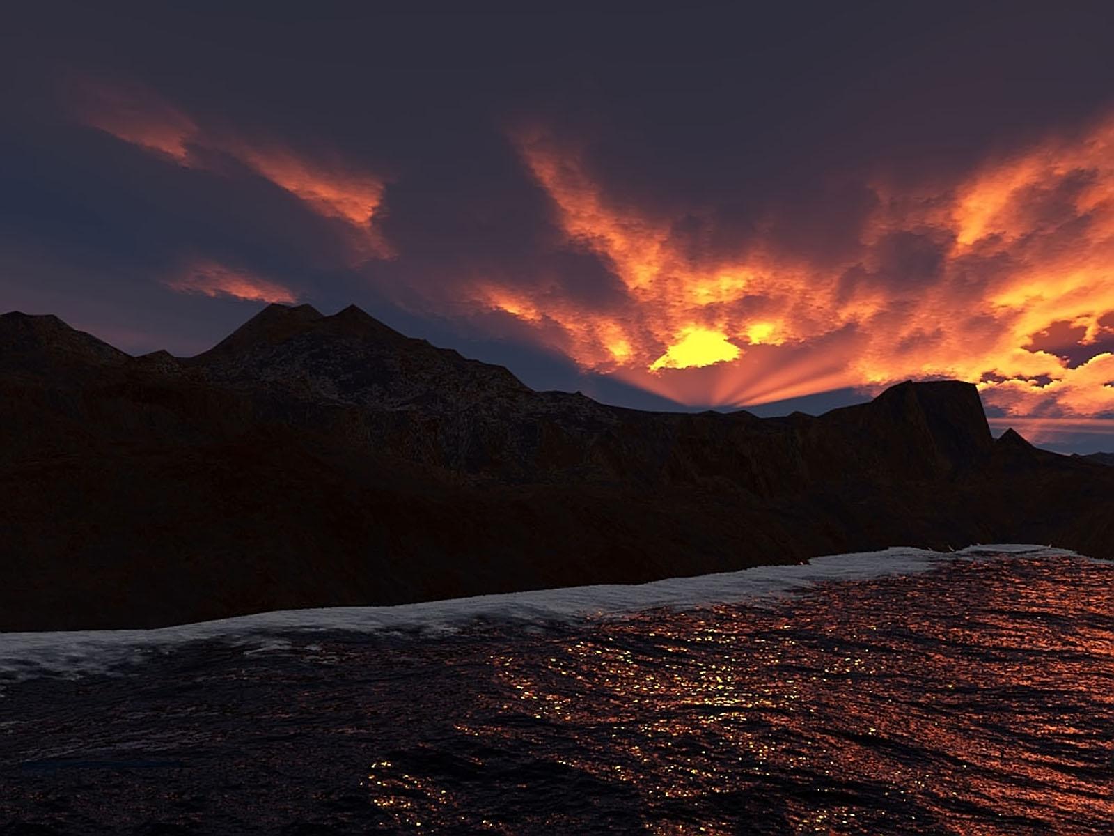 SUNSET, 3d, Bspo06, Landscape, Mountain, HQ Photo
