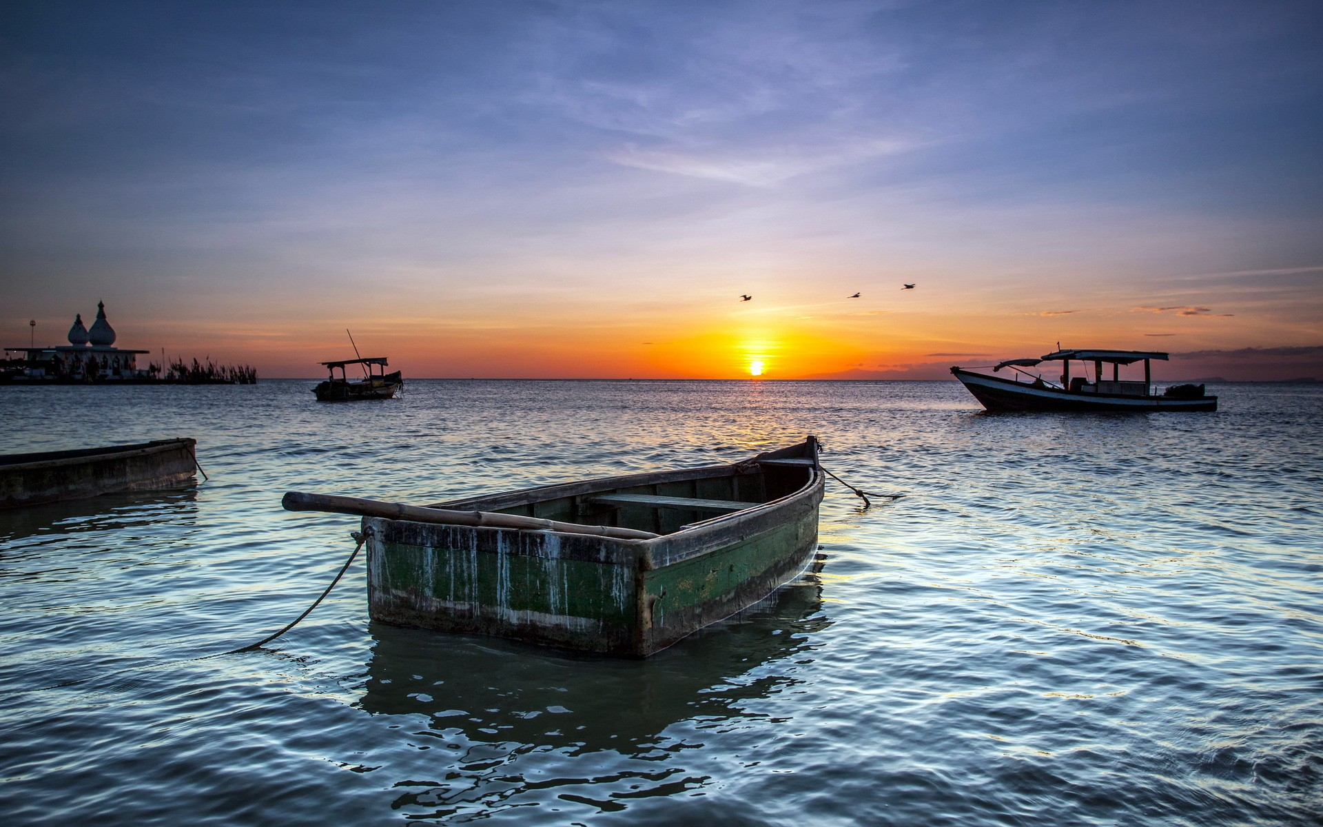 Sunsets: Sunrise Boat Ocean Peaceful Clouds Lovely Nature Sea Boats ...