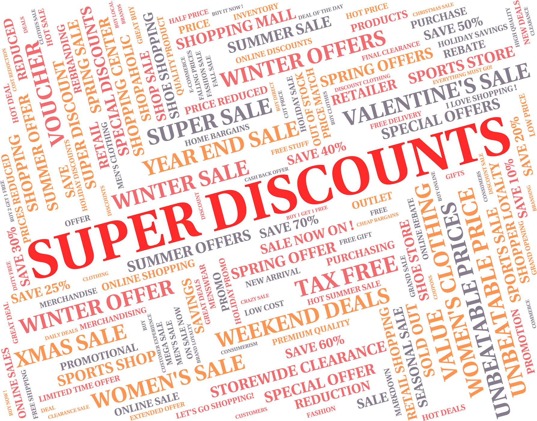 Super discounts represents good reduction and save photo