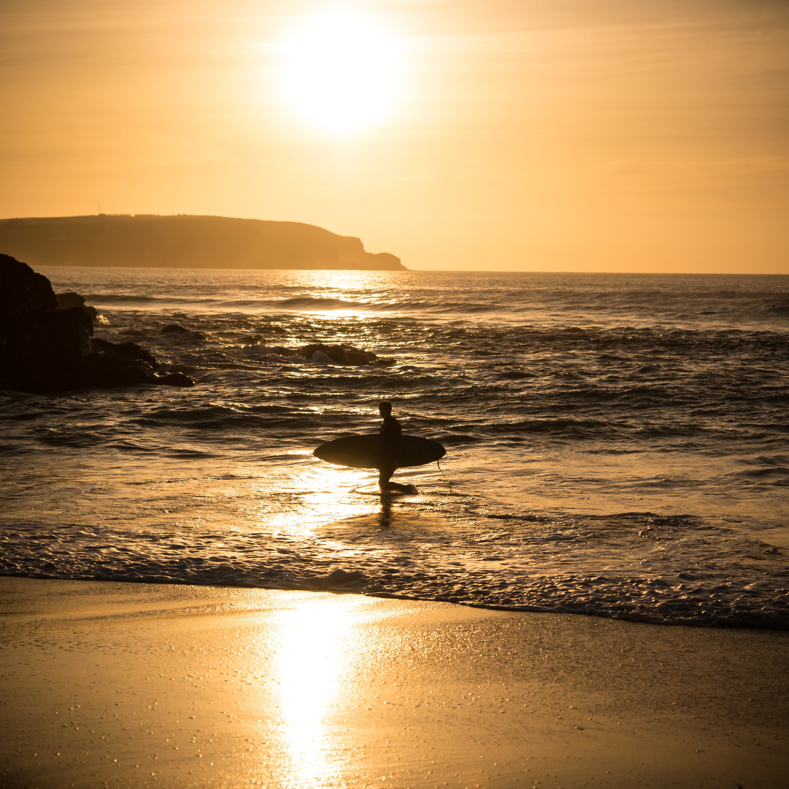 Surfer Sunset Cornwall