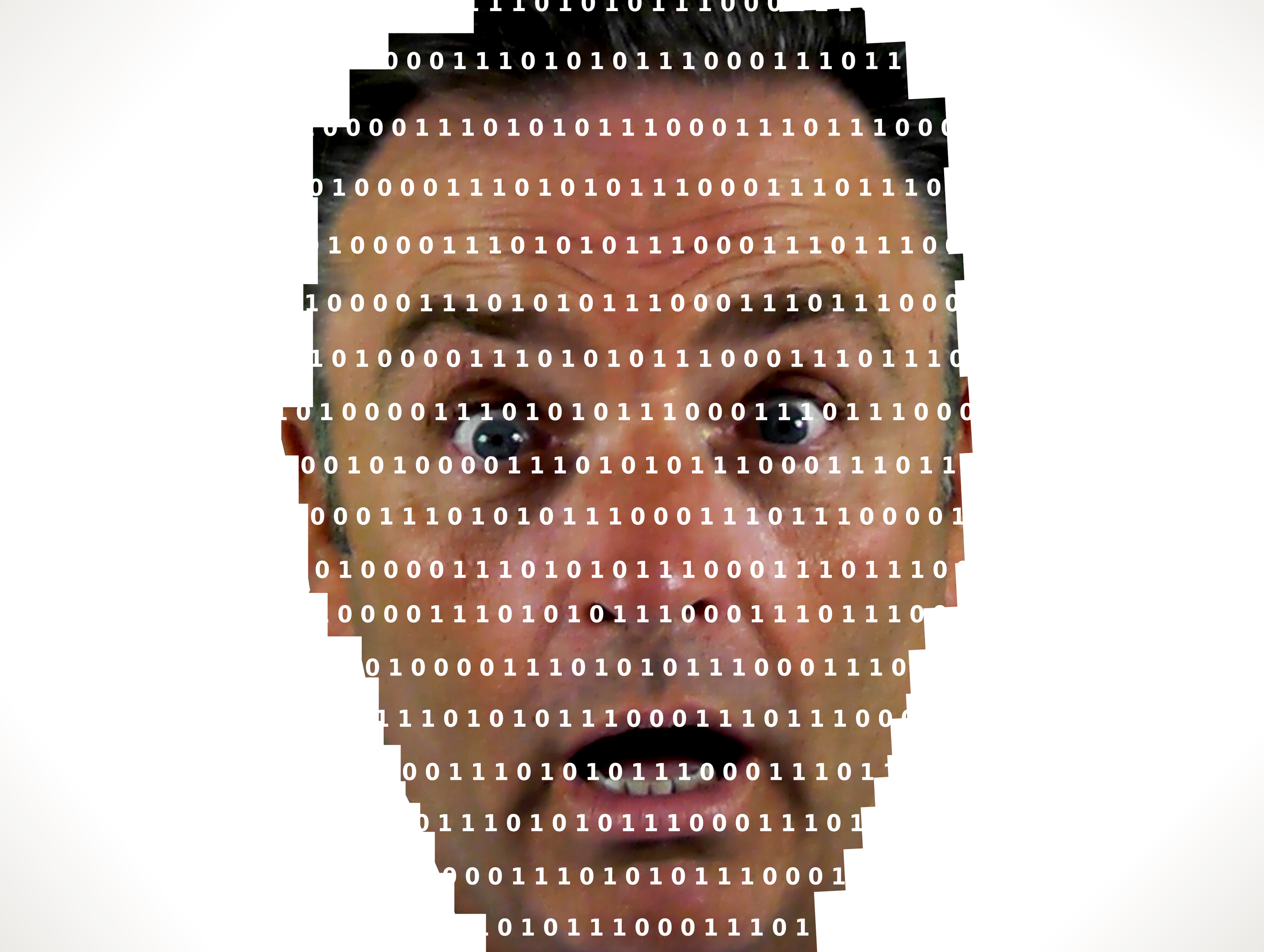 Surprised man looking into binary code - The online privacy problem, 3d, Network, Programmer, Program, HQ Photo