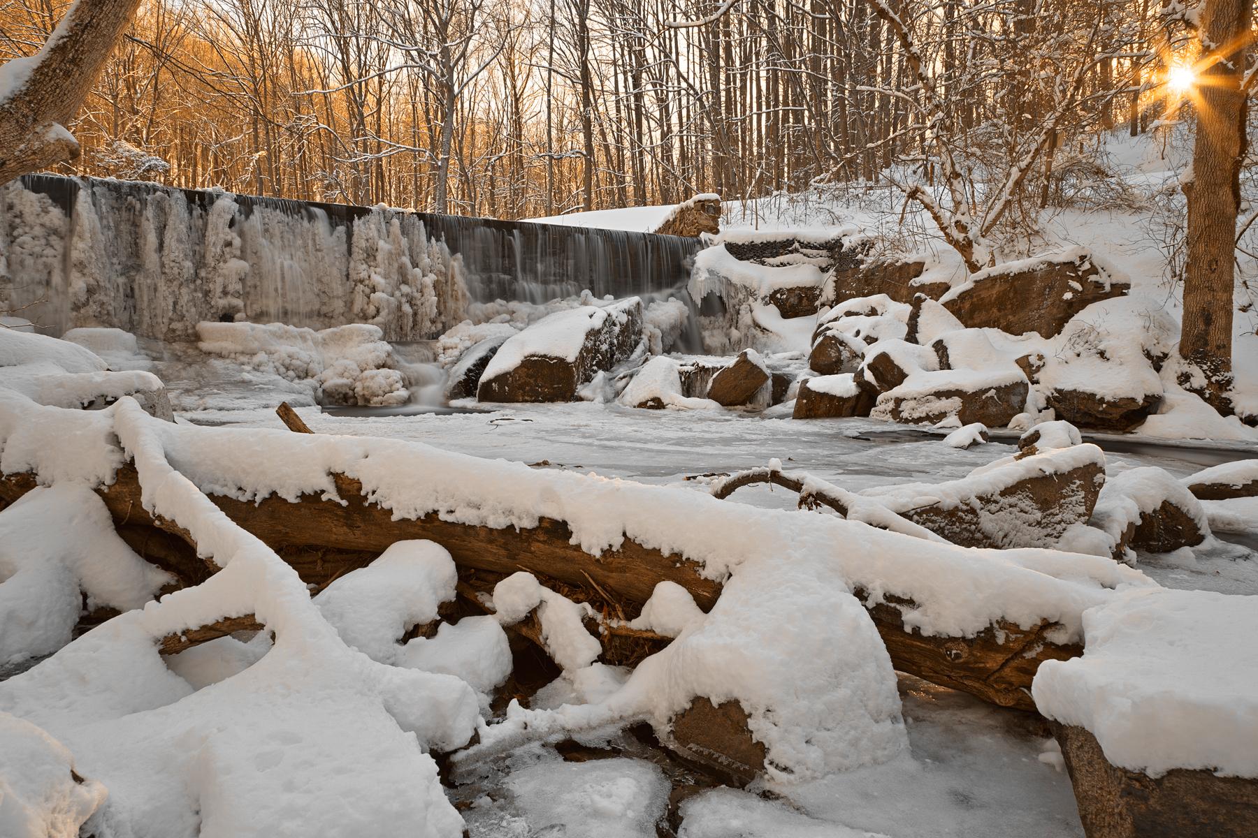 Susquehanna Winter Sunset Falls - HDR, America, Shine, Serenity, Shade, HQ Photo
