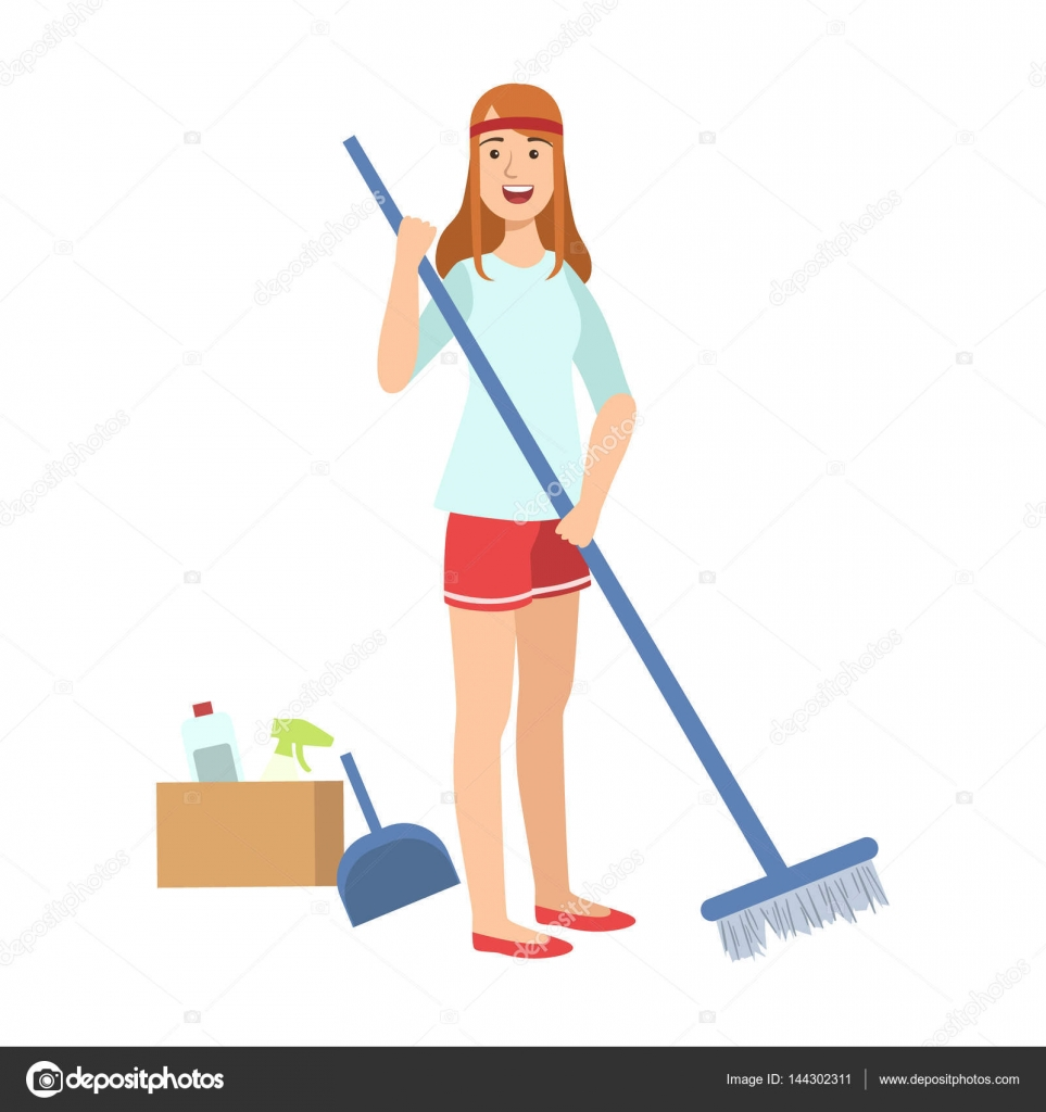 Sweeping with broom photo