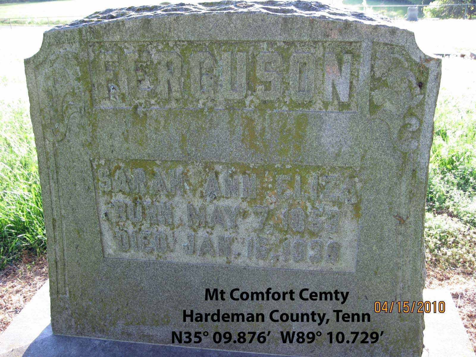 Mt Comfort Cemetery, Hardeman County, Tennessee