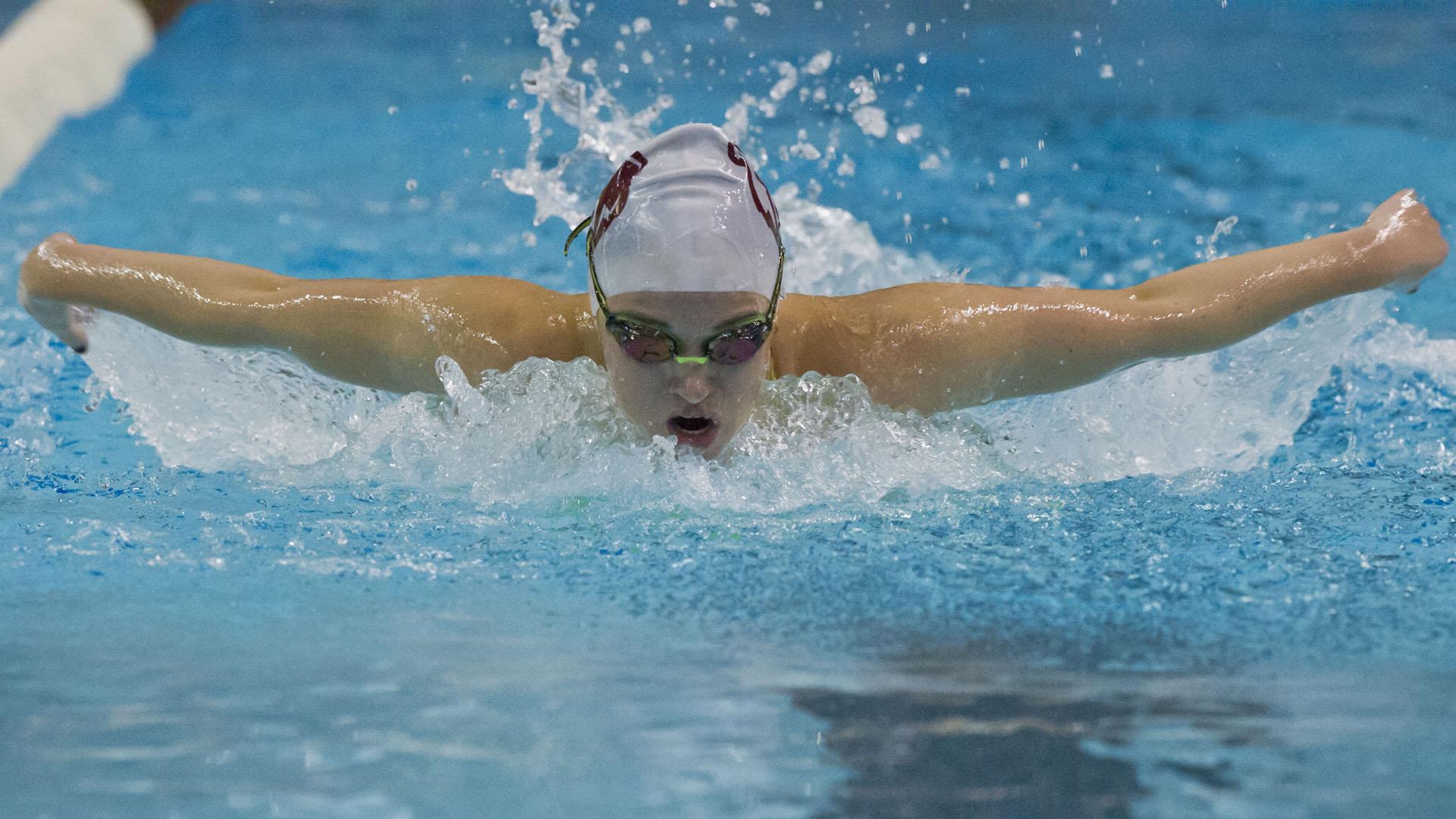 Girl big breasts swimming underwater stock photo