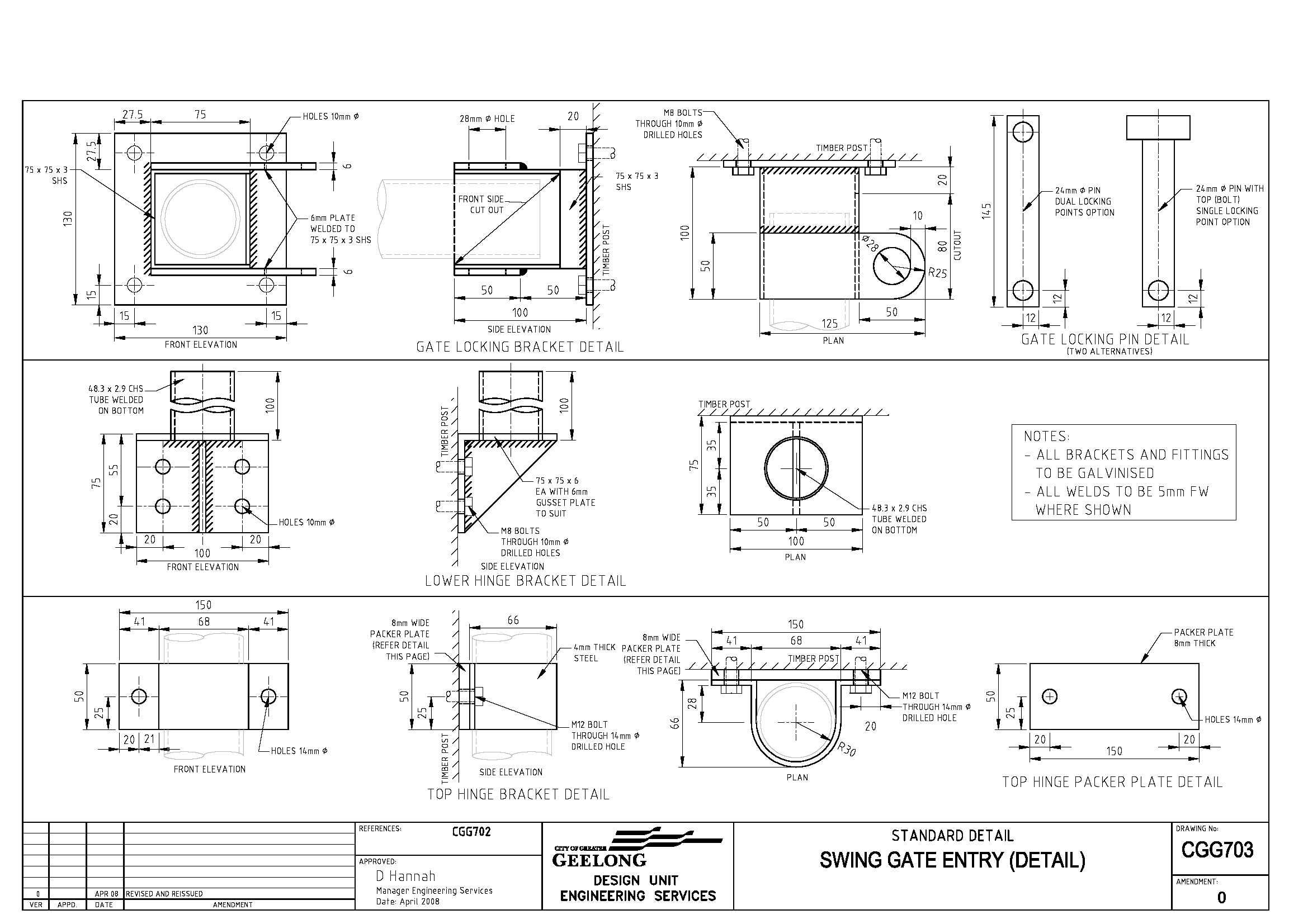 Civil Engineering Standard Drawings - CGG703 Swing gate entry (Detail)