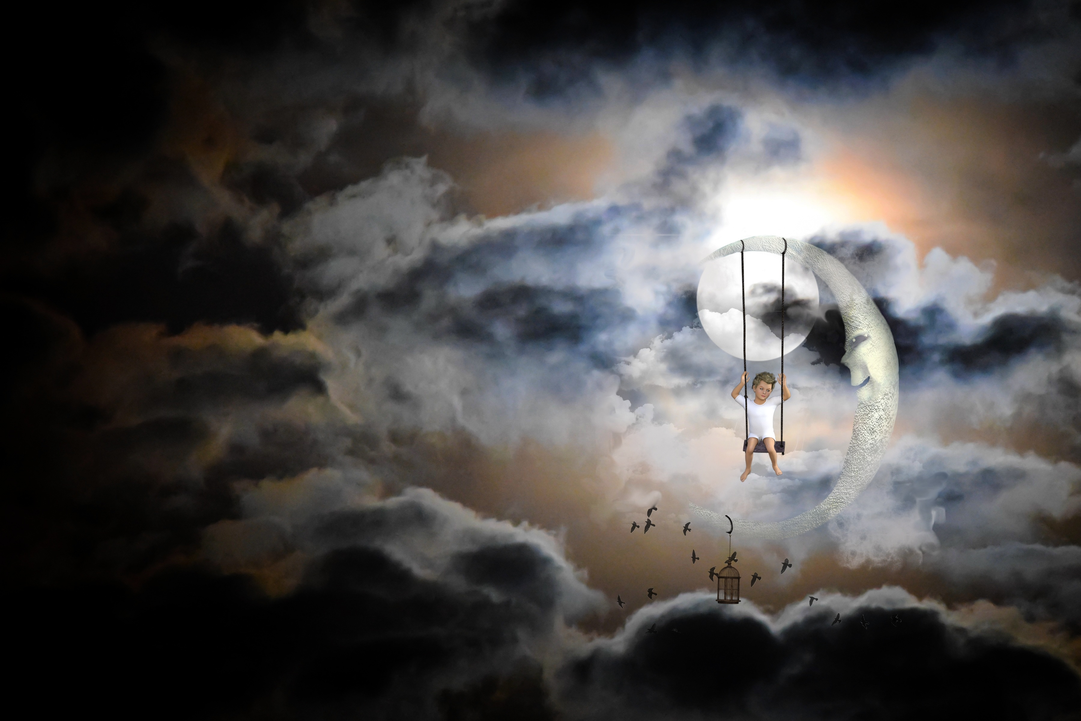 Swinging in front of the moon, Art, Child, Clouds, Graphic, HQ Photo