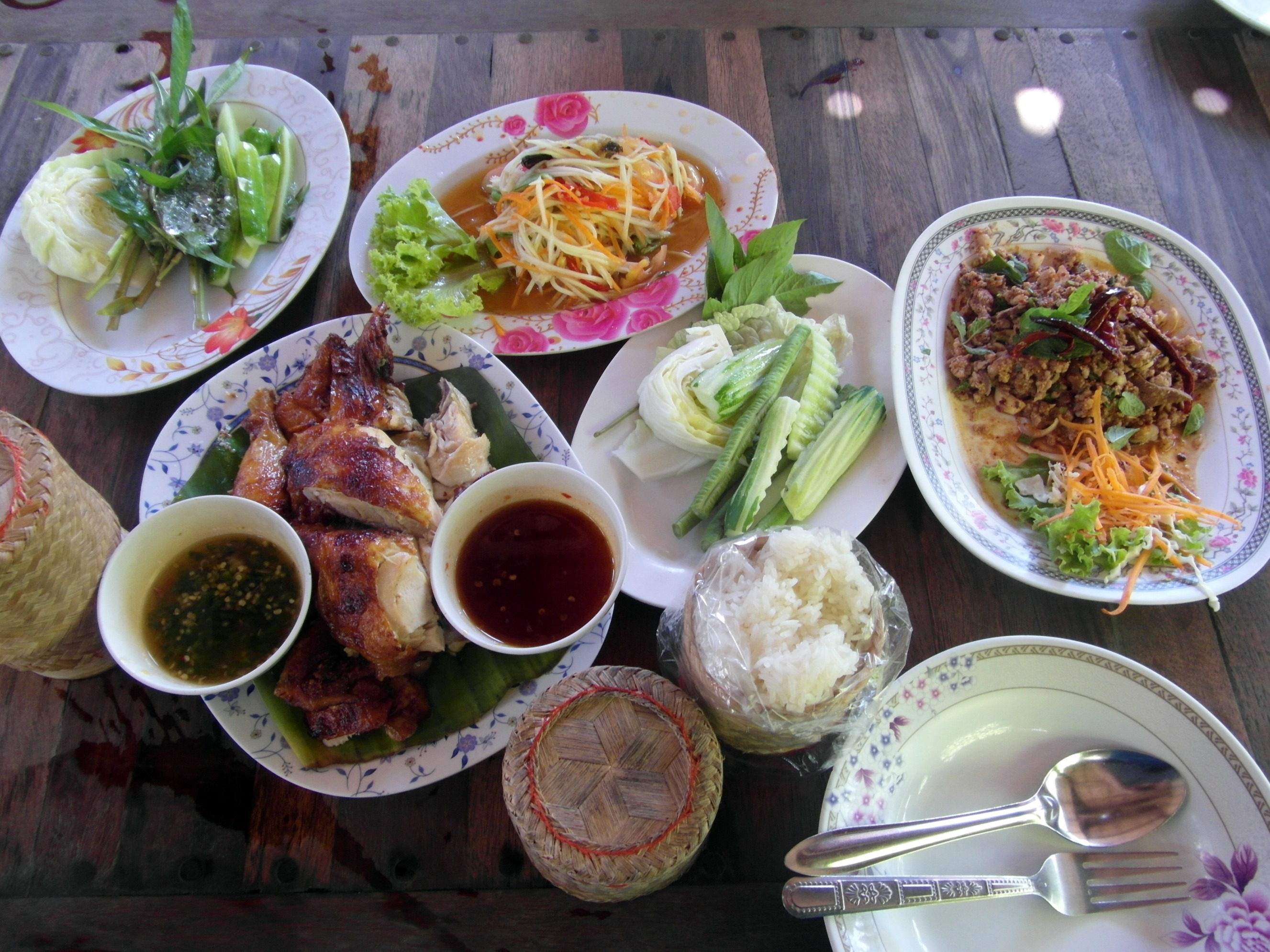 Table of asian food dishes photo