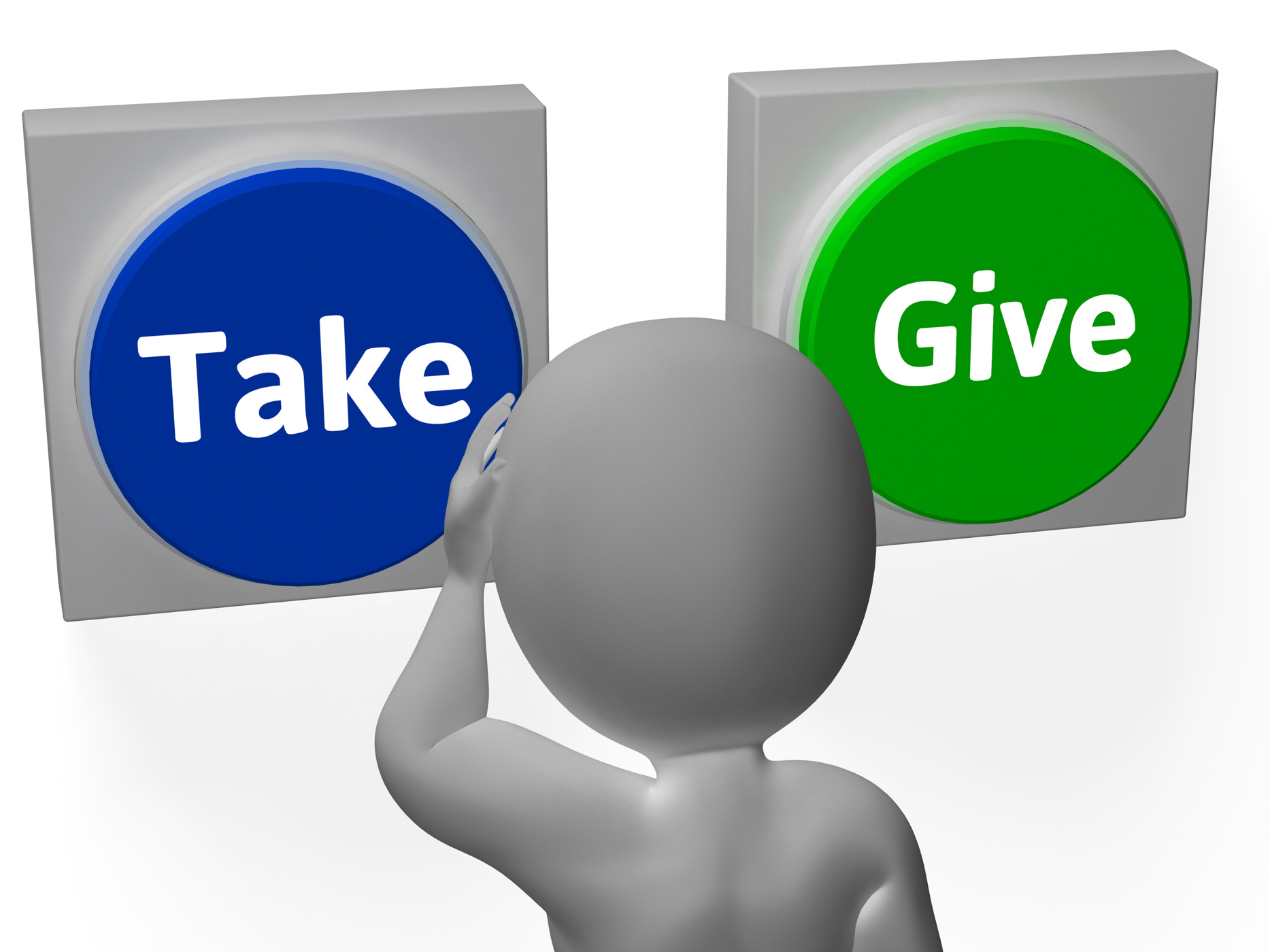 Take give buttons show compromise or negotiation photo