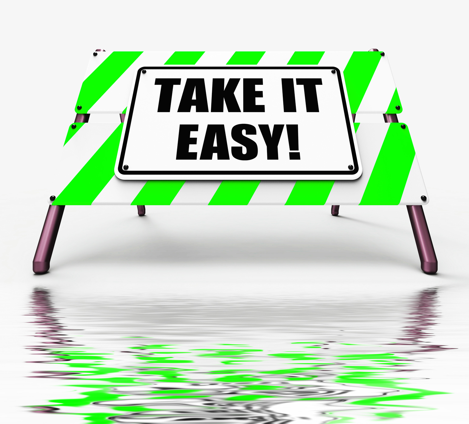 Take it easy sign displays to relax rest unwind and loosen up photo