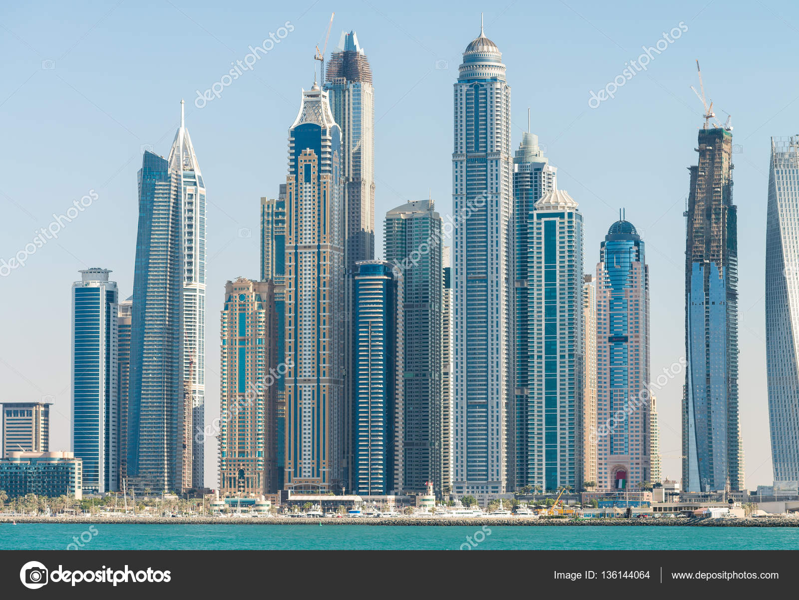 Dubai Marina tall skyscrapers on a sunny day - UAE — Stock Photo ...