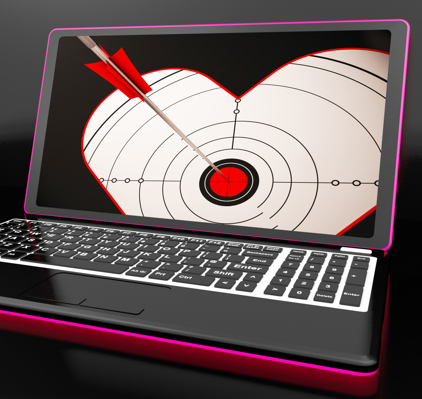 Target Heart On Laptop Shows Flirting, Accuracy, Laptop, Valentineday, Valentine, HQ Photo