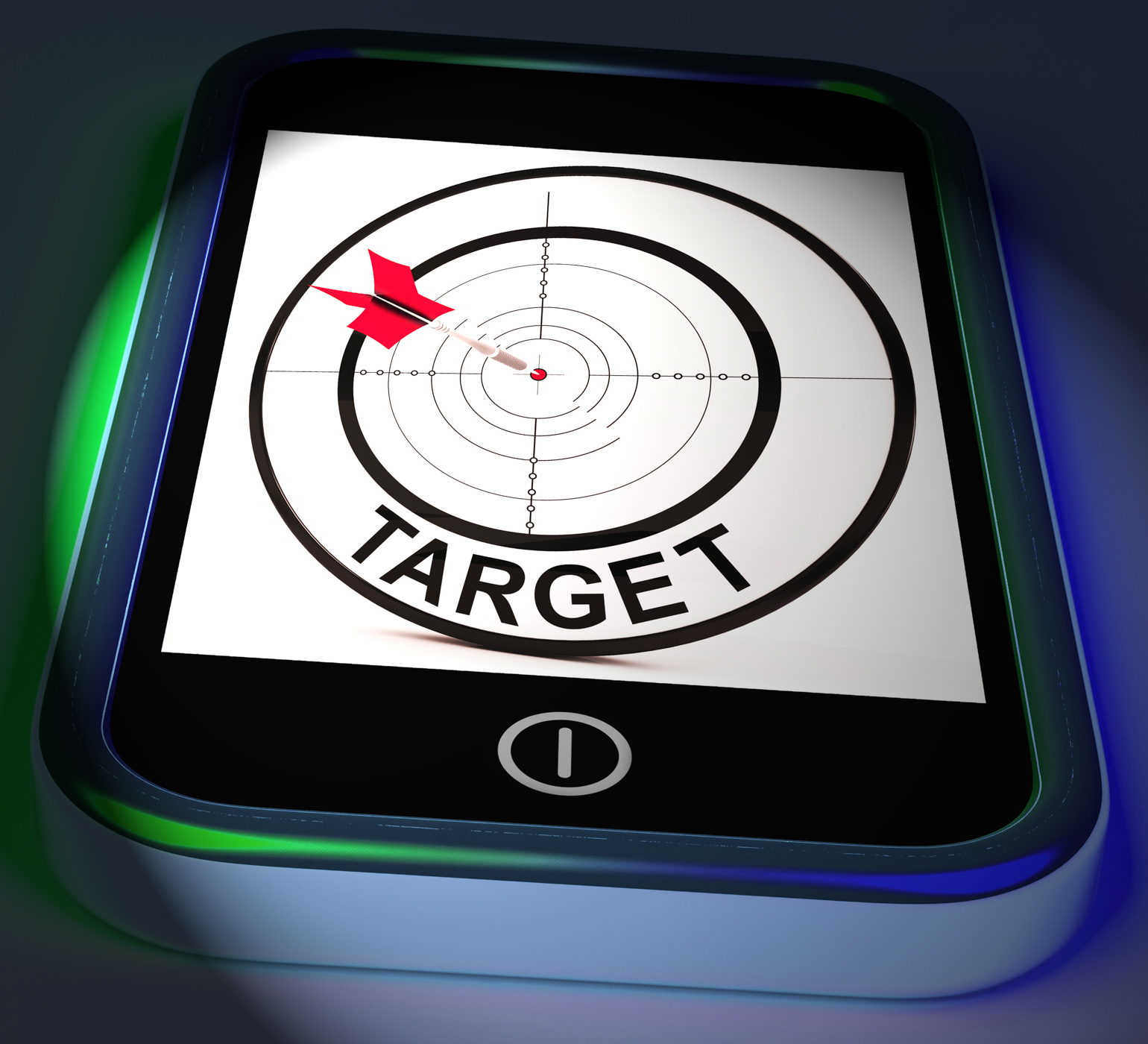 Target smartphone displays goals aims and objectives photo
