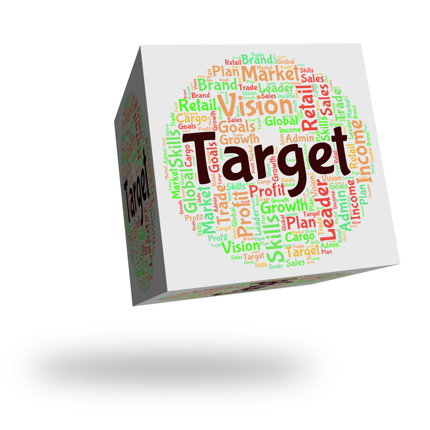 Target word indicates desired result and aim photo