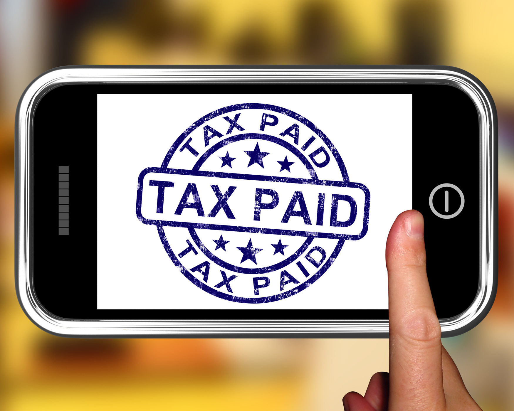Tax paid on smartphone shows payment confirmation photo