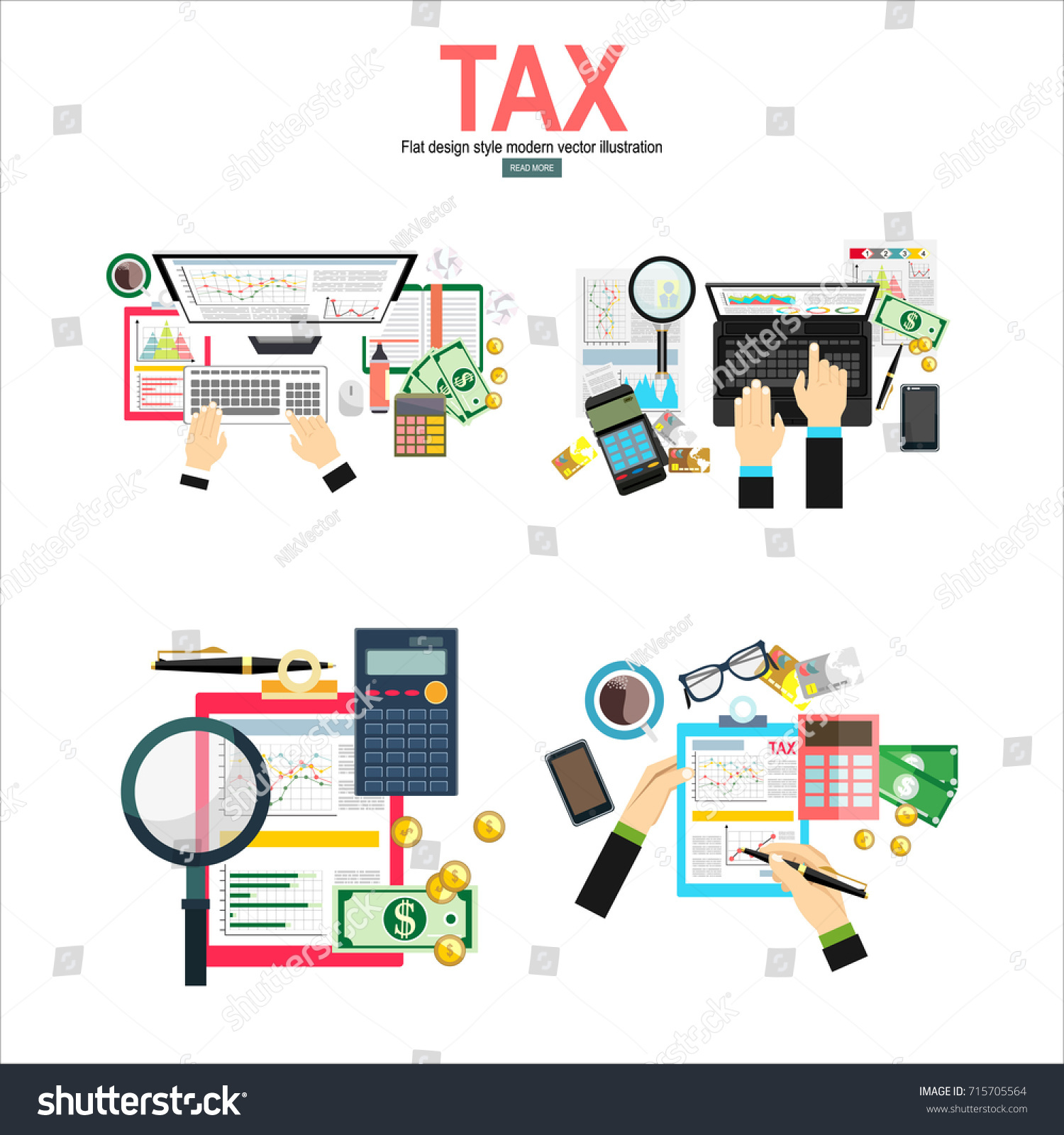 Tax Payment Concept State Taxes Vector Stock Vector HD (Royalty Free ...