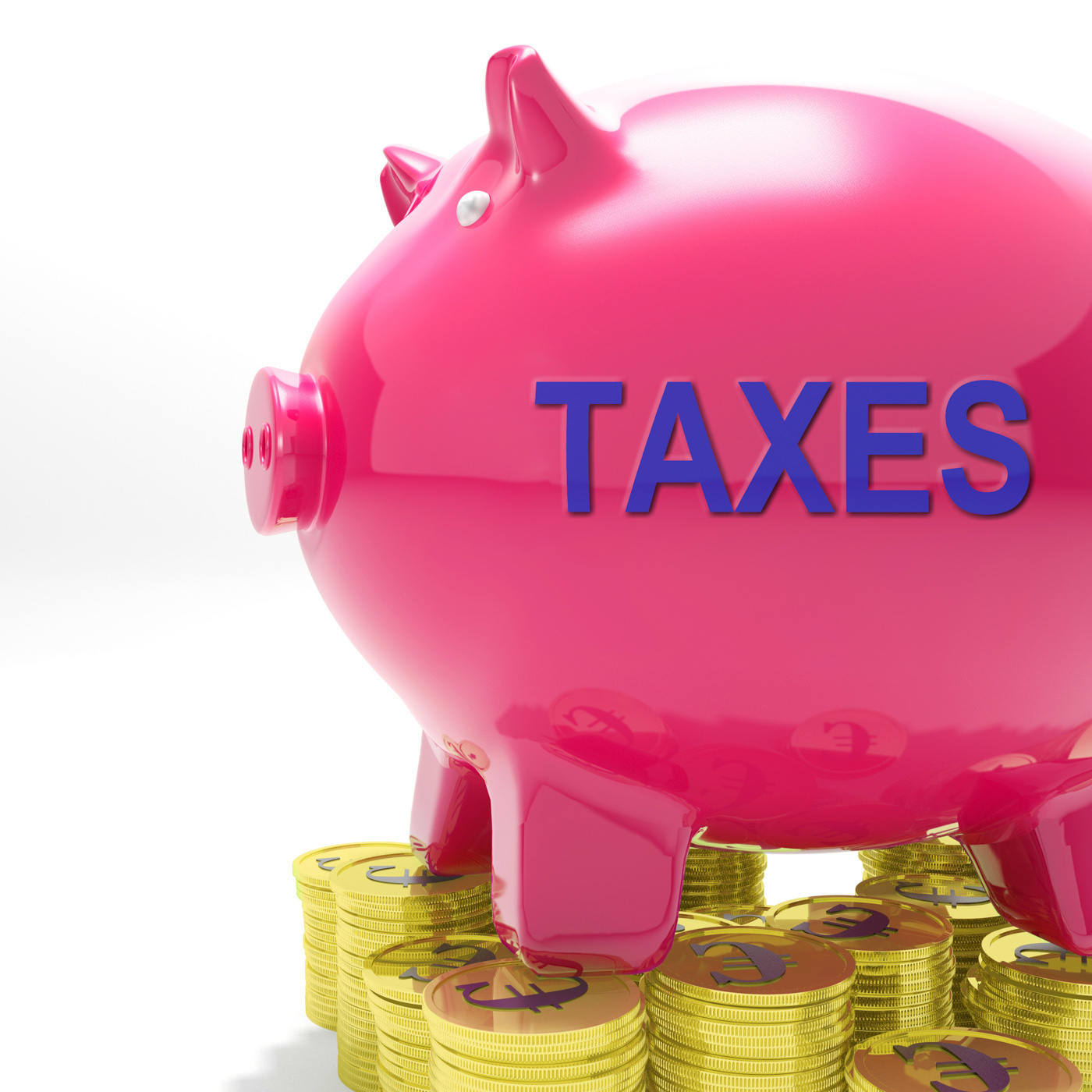 Taxes piggy bank means taxed income and tax rate photo