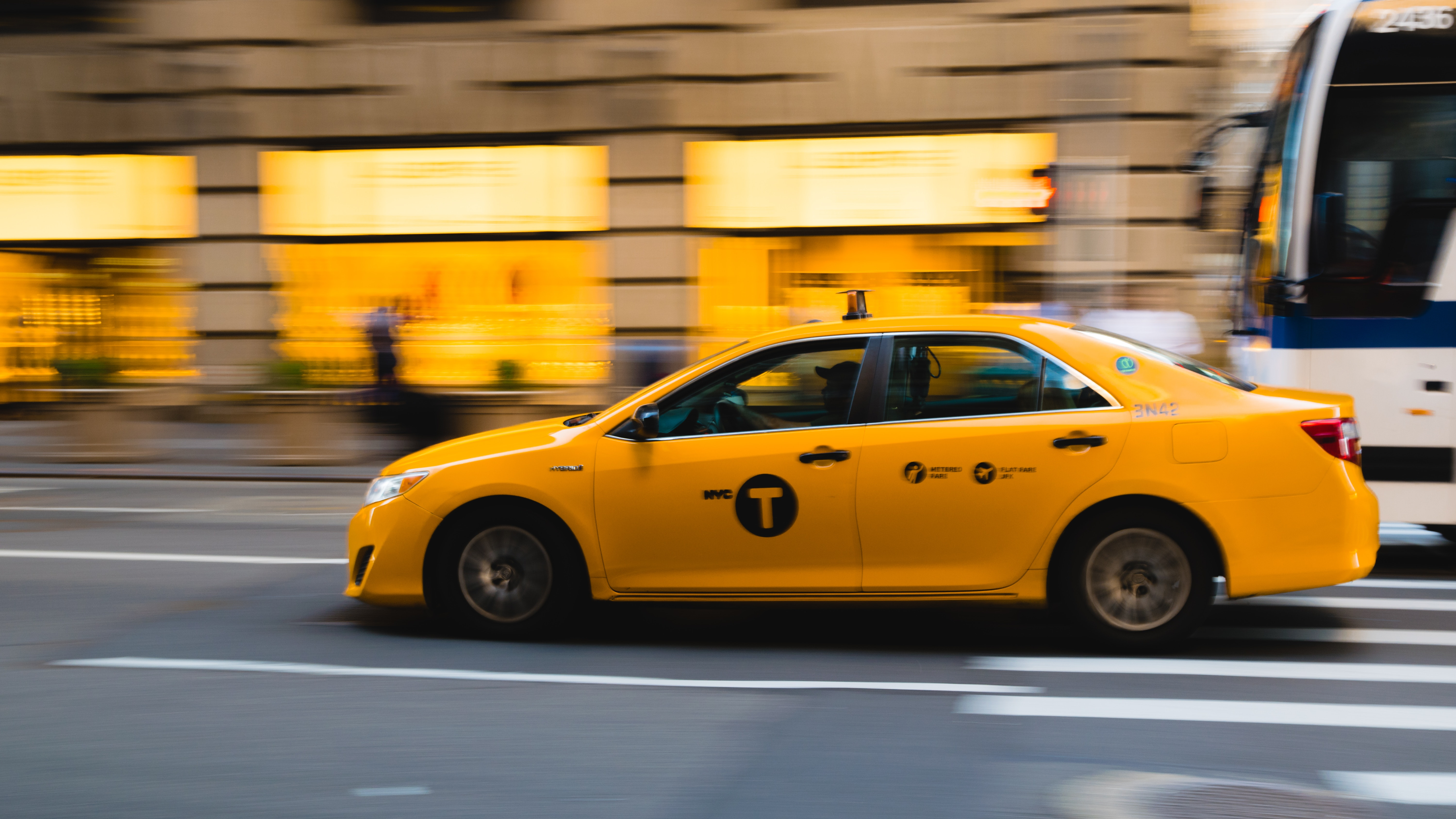 Taxi Overtaking Bus, Architecture, Motion, Vehicles, Urban, HQ Photo