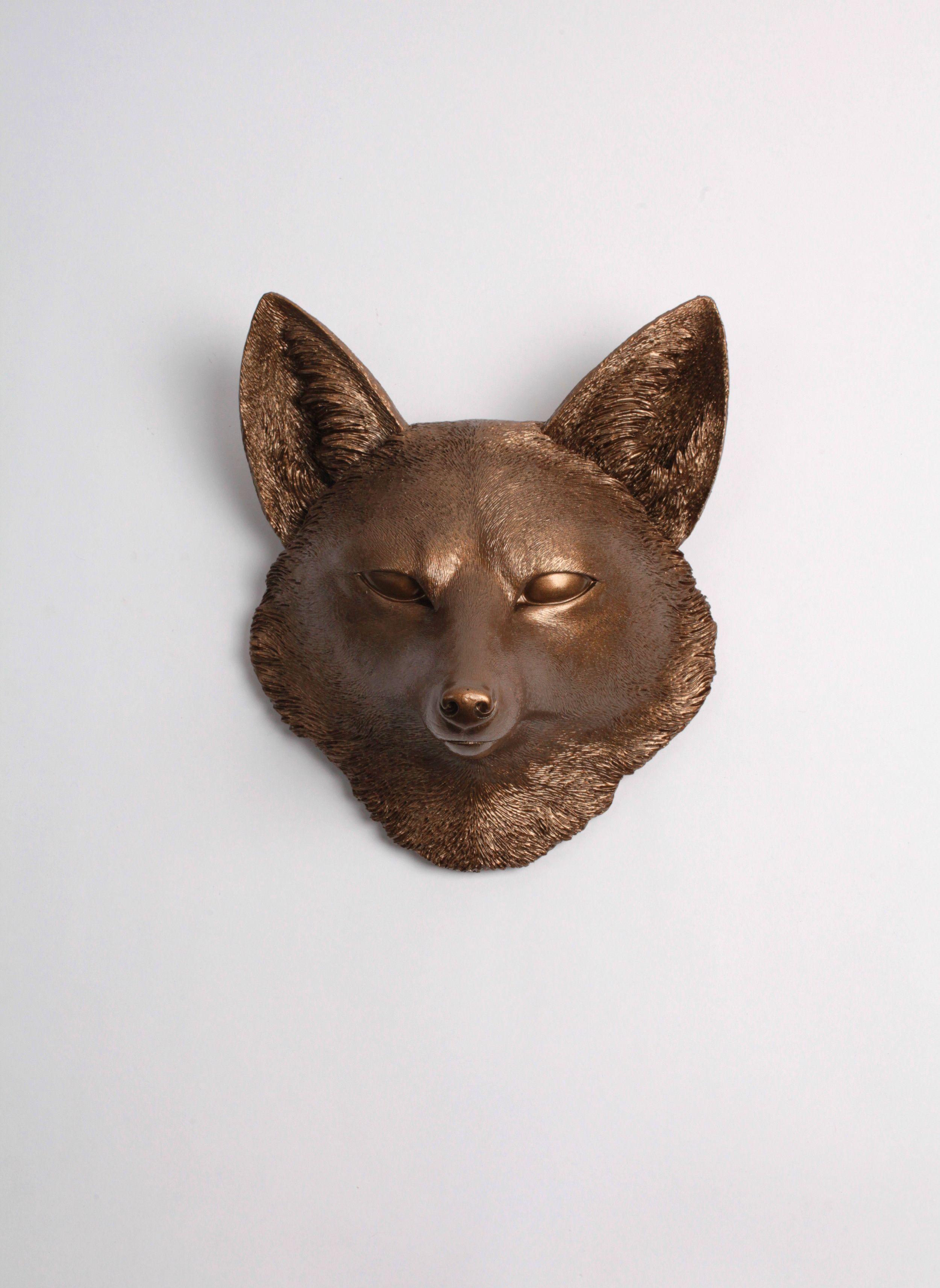 The Sylvester in Bronze, Faux Taxidermy Fox Decor Head   Taxidermy ...