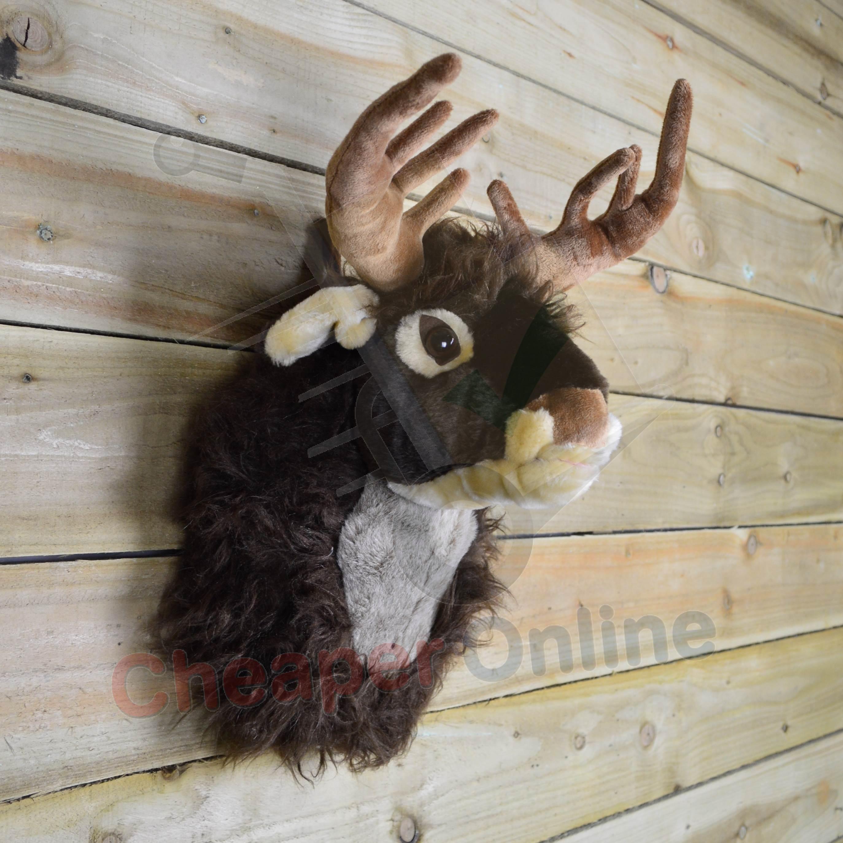 40cm (16 inch) Singing Plush Taxidermy Reindeer Head Christmas Wall ...