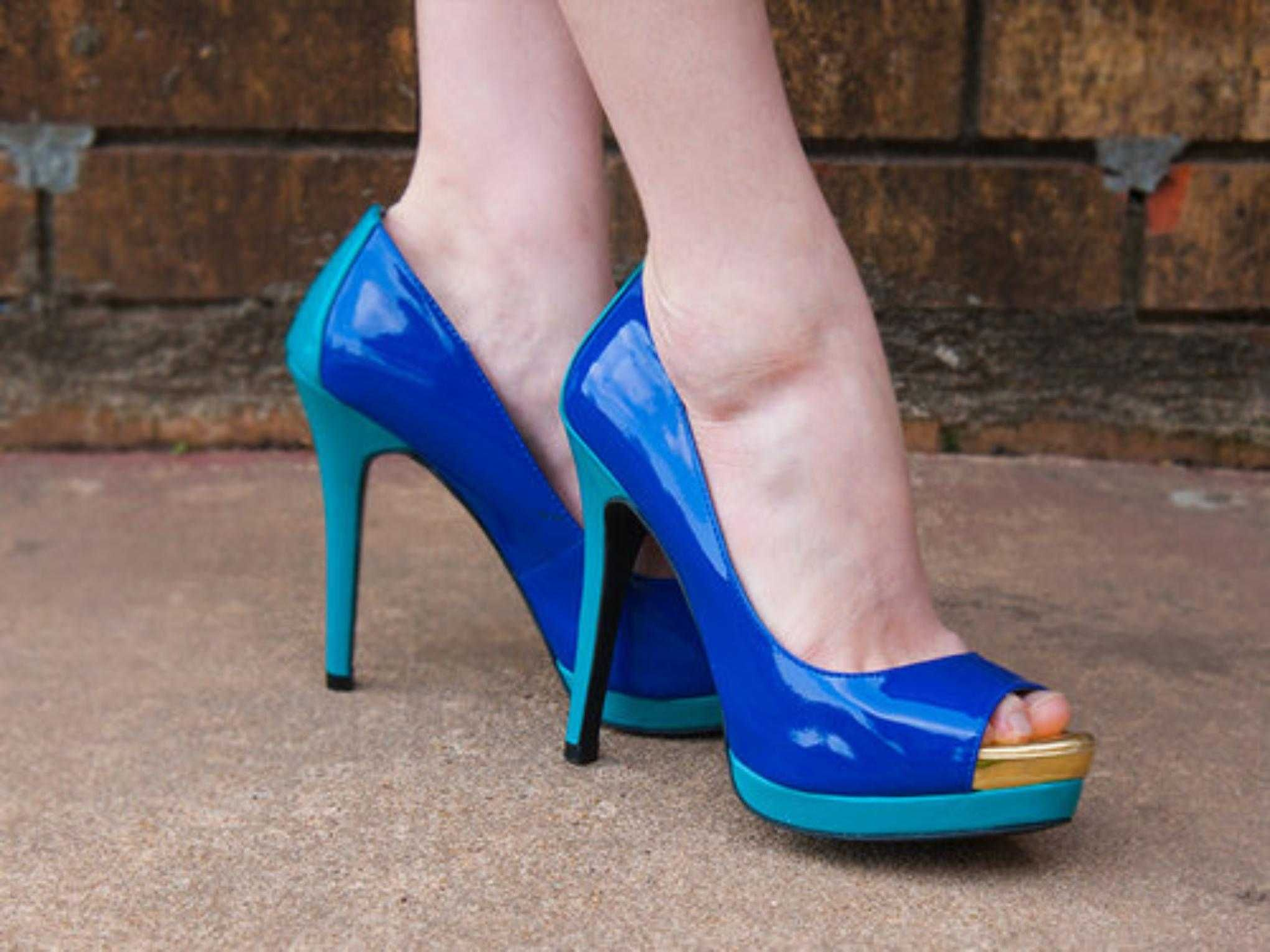 Mossimo Blue Gold Turquoise Teal Platform Peeptoe Open Toe High ...