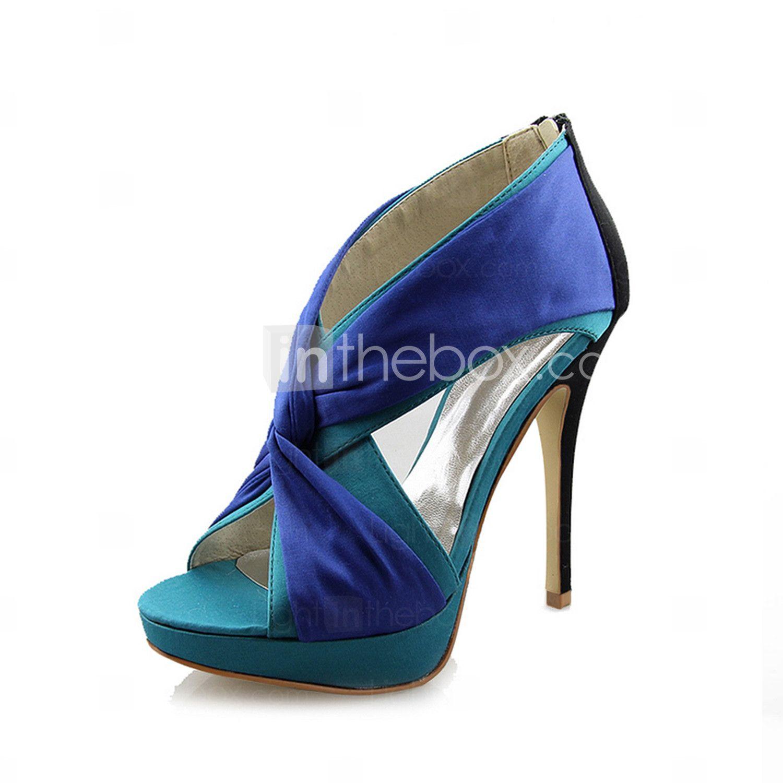 Women's Shoes Platform Stiletto Heel Sandals With Satin Cross Over ...