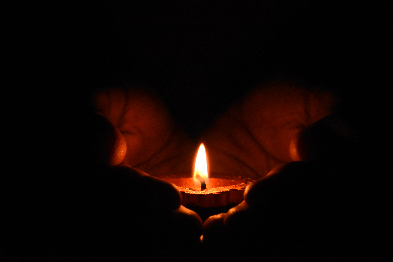 Tealight Candle on Human Palms, Illuminated, Hot, Insubstantial, Heat, HQ Photo