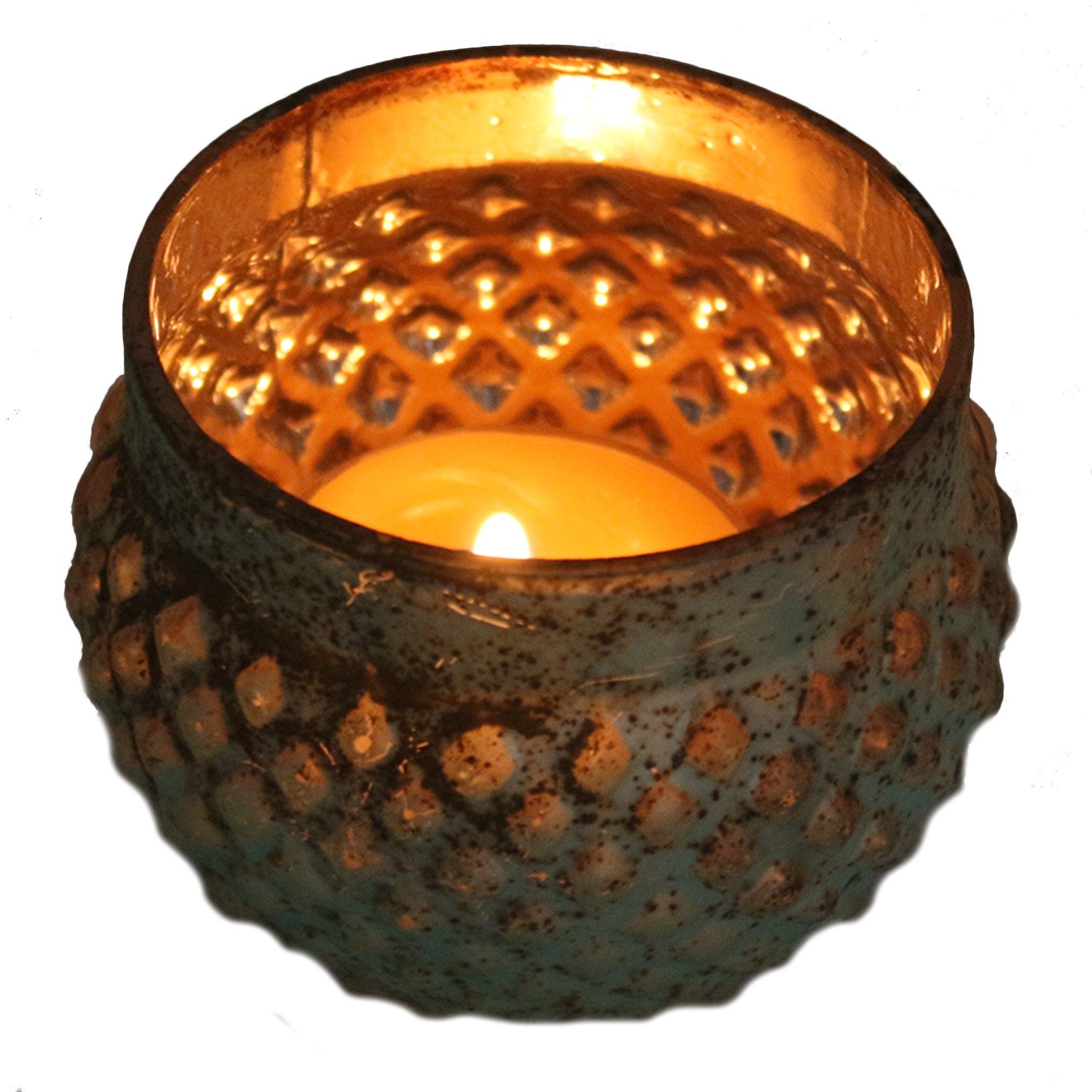 Aqua Mercury Glass Tea Light Candle Holder – Candlestock