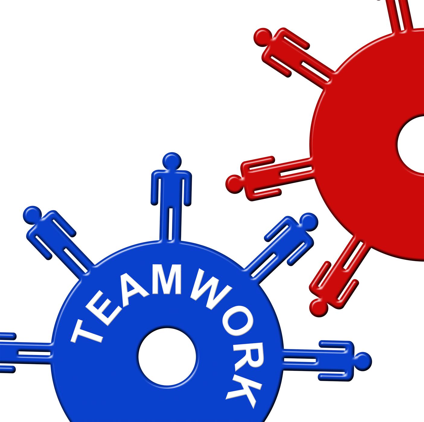 Teamwork cogs shows gear wheel and clockwork photo