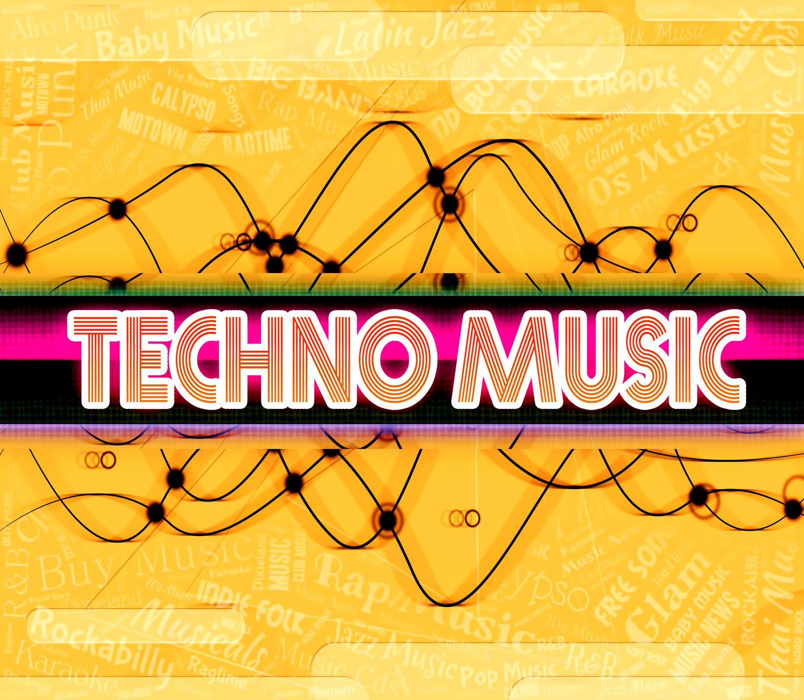 Techno music shows electric jazz and audio photo