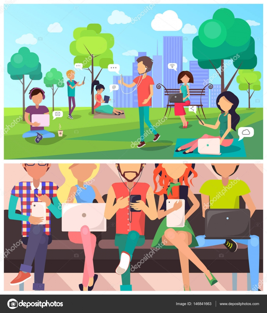 Set of People and Technology in Cartoon Style — Stock Vector ...