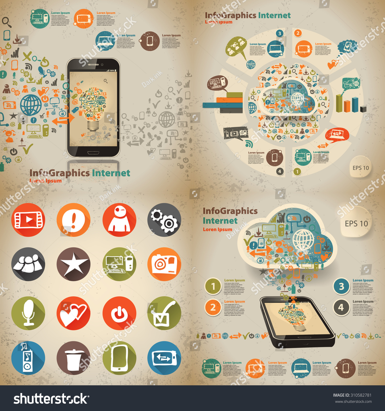 Set Infographic On Topic Digital Technology Stock Vector HD (Royalty ...