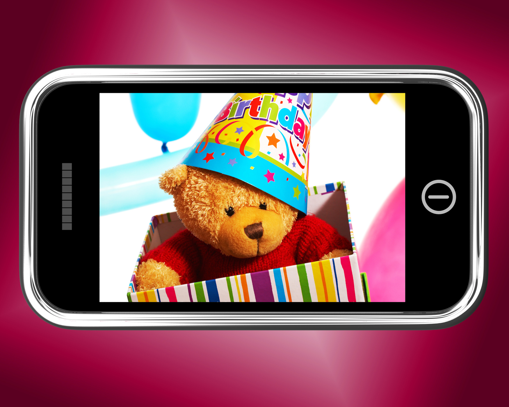 Teddy bear birthday gift photo on smartphone