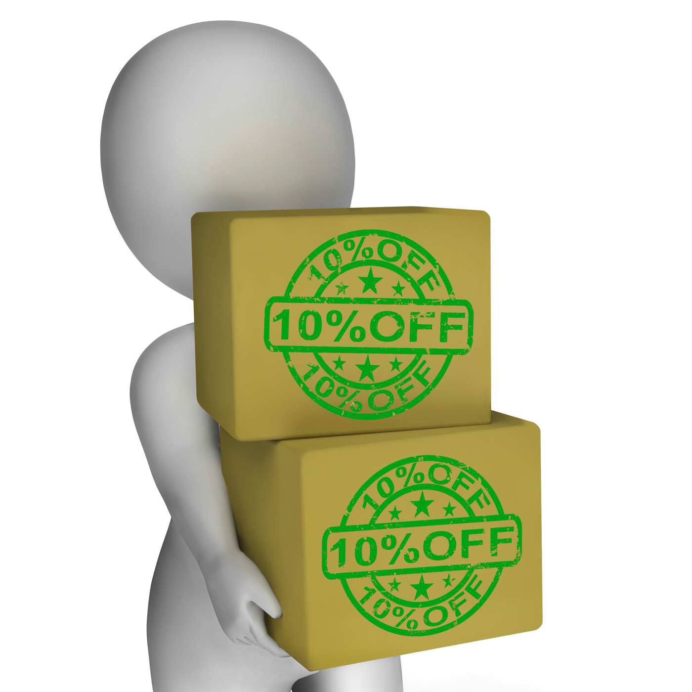 Ten percent off boxes show 10 lower prices photo