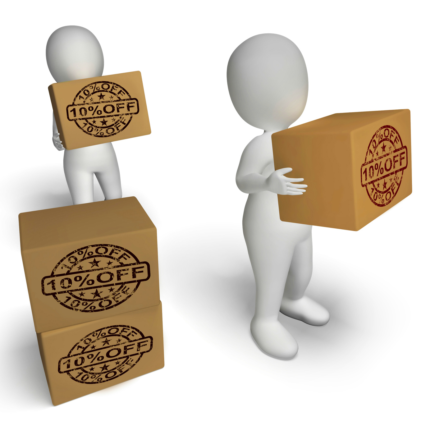 Ten percent off boxes show 10 reduced price photo