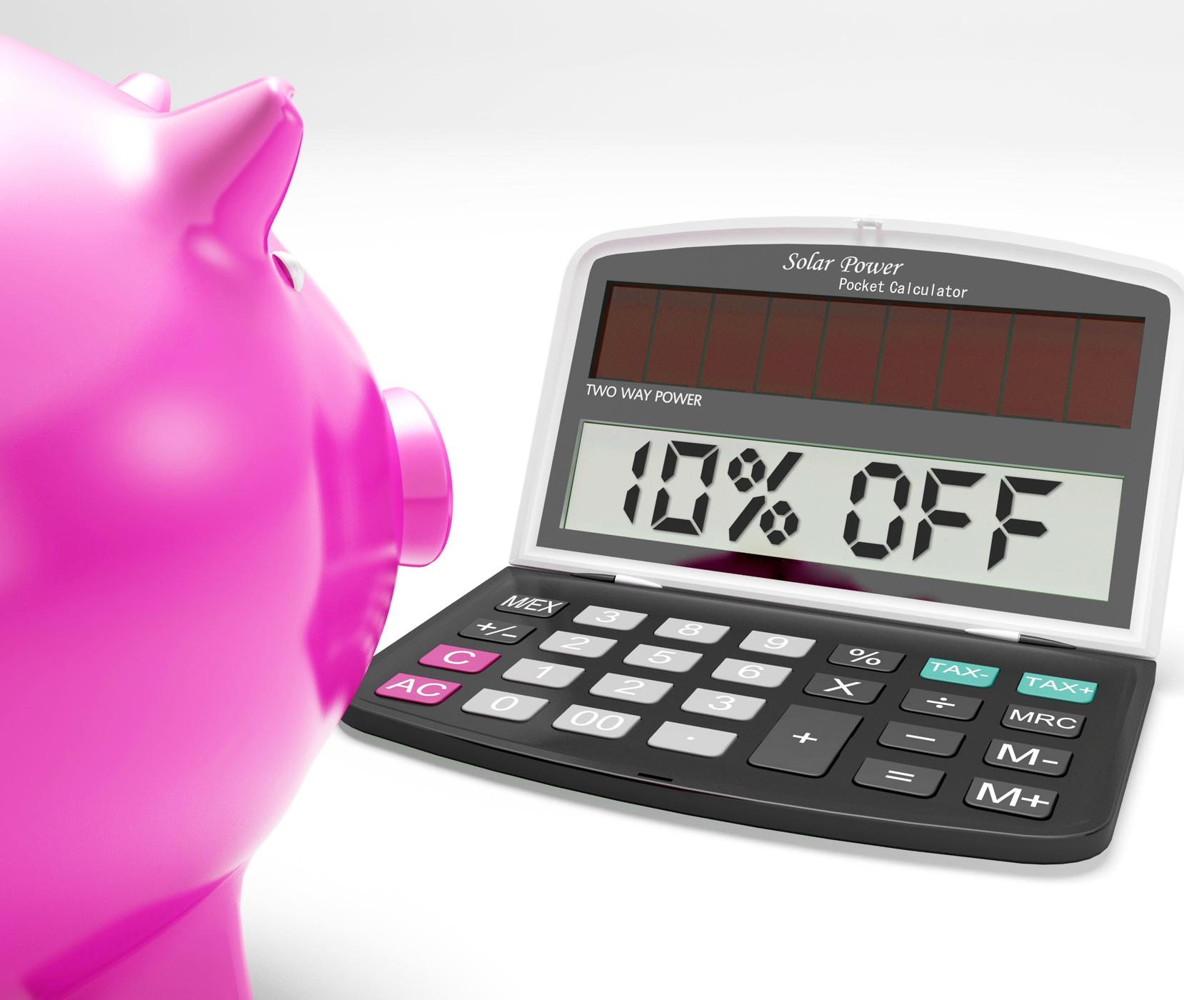 Ten percent off calculator shows 10 discount photo