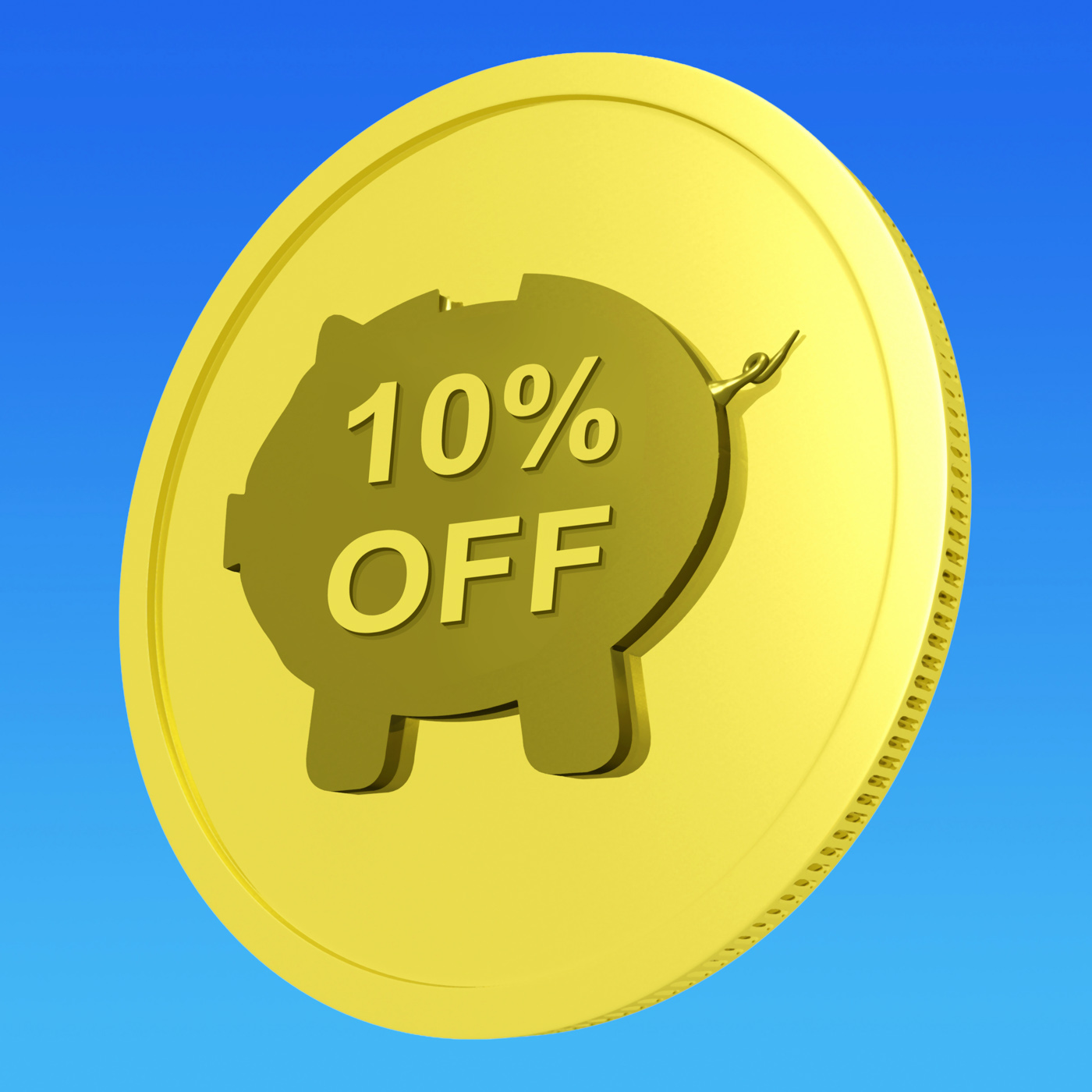 Ten percent off coin shows 10 savings and discount photo