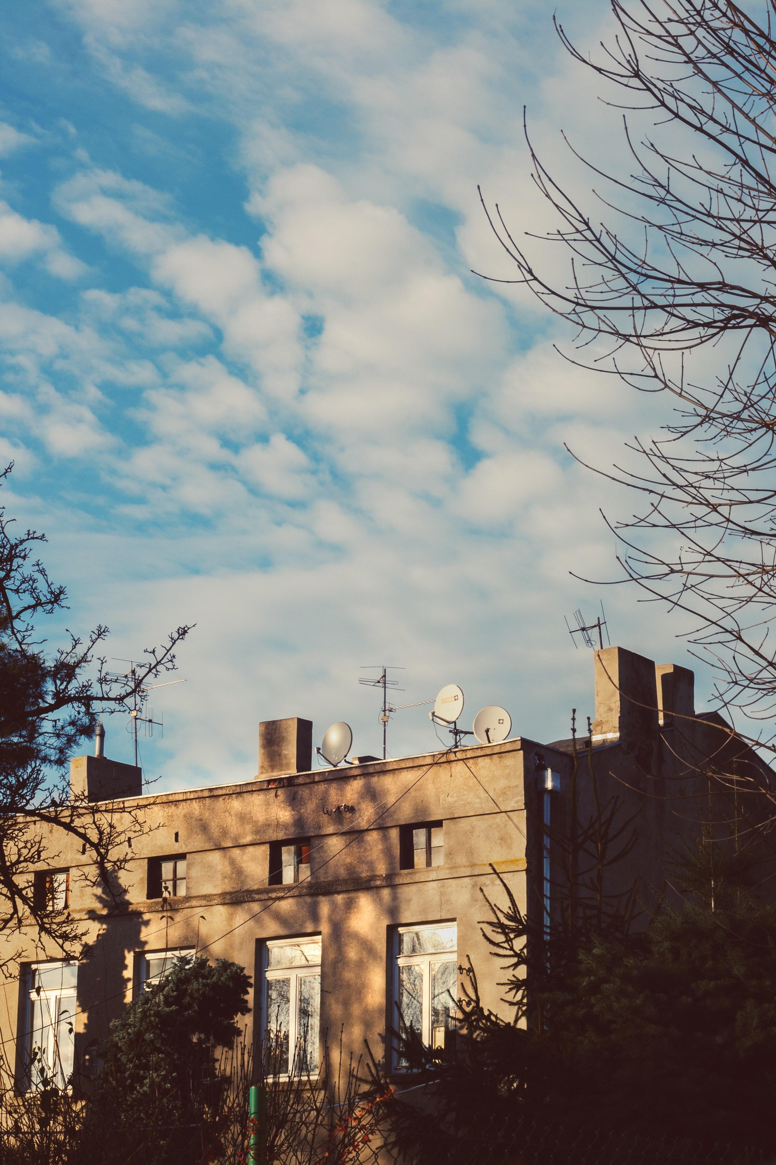 Tenement house & blue sky photo