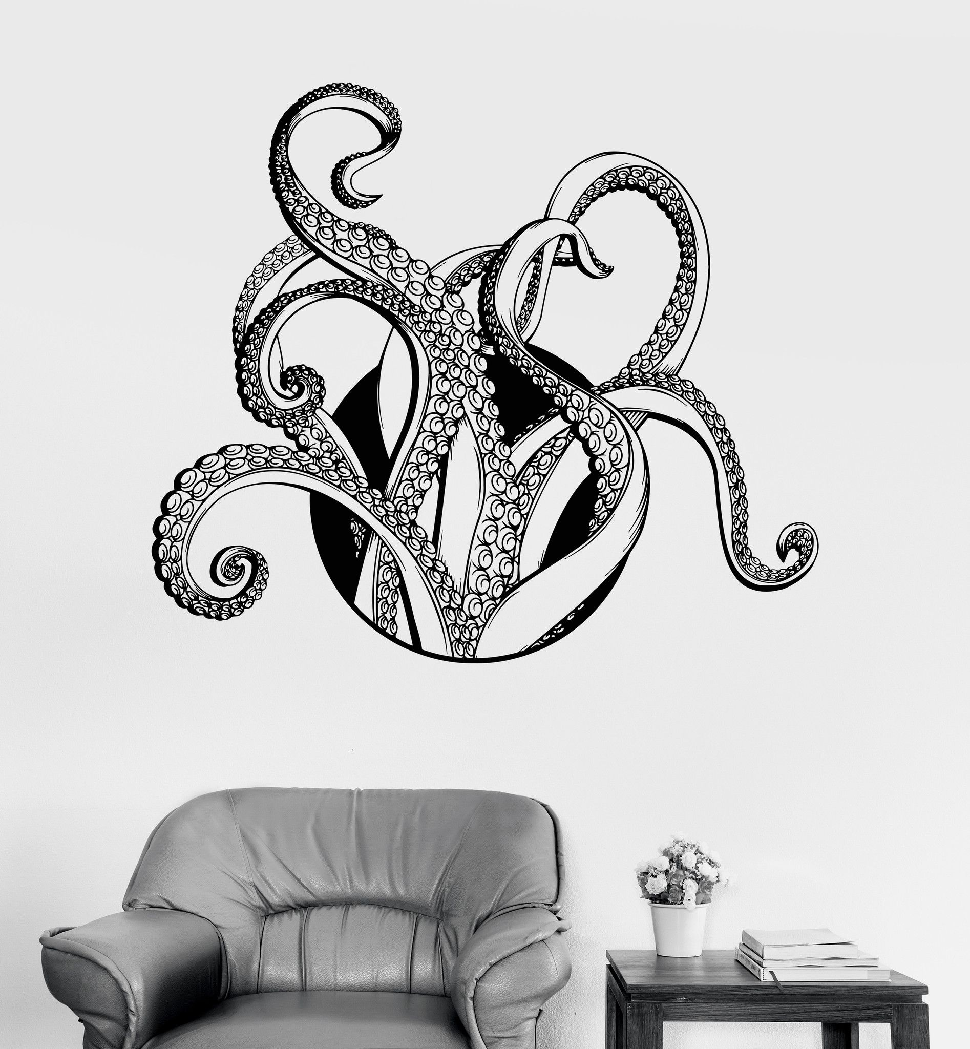 Vinyl Wall Decal Tentacles Octopus Kraken Nautical Marine Decor Sea ...