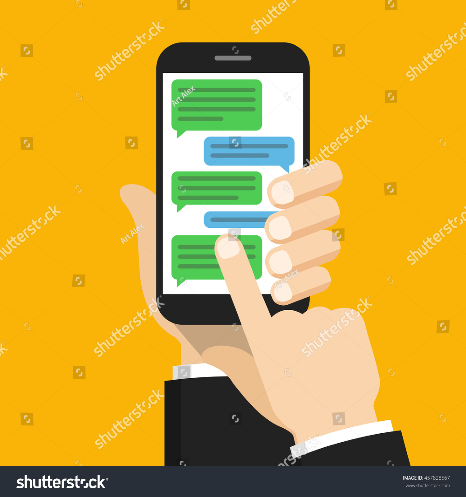 Text Messaging Concept On Screen Smartphone Stock Vector 457828567 ...